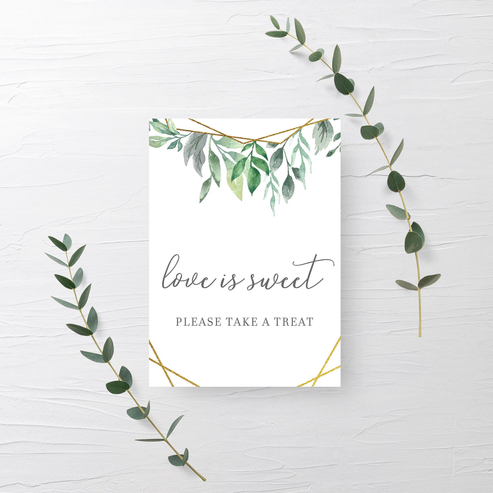 Geometric Gold Greenery Printable Treat Sign, INSTANT DOWNLOAD, Wedding Bridal Shower Love Is Sweet Dessert Table Decorations - GFG100 - @PlumPolkaDot