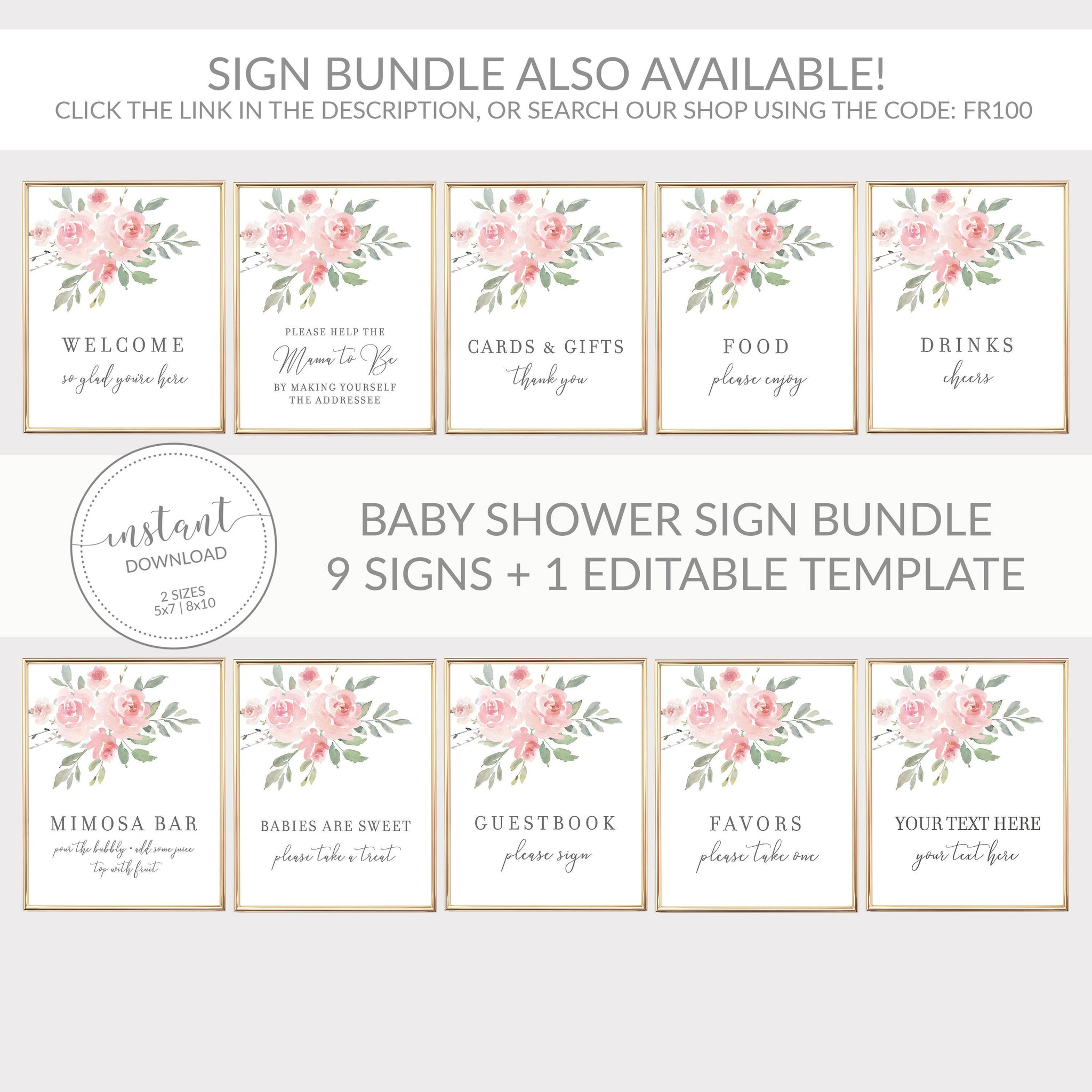 Blush Pink Floral Mimosa Bar Printable Sign INSTANT DOWNLOAD, Birthday, Bridal Shower, Baby Shower, Wedding Decorations and Supplies - FR100