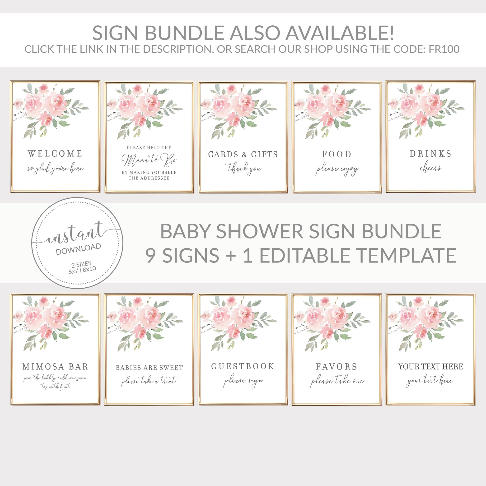 Blush Pink Floral Cards and Gifts Printable Sign INSTANT DOWNLOAD, Bridal Shower, Baby Shower, Wedding Decorations and Supplies - FR100