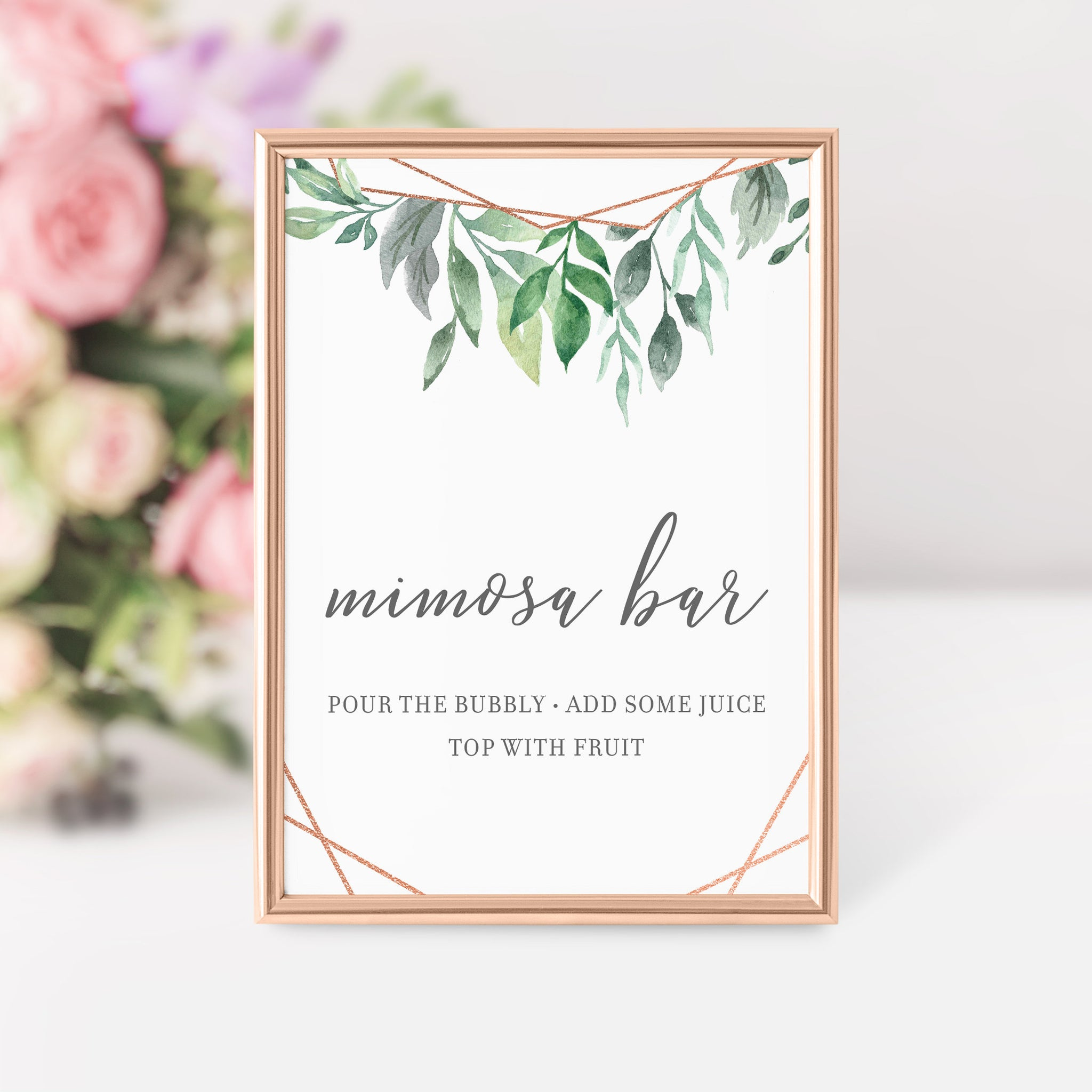 Geometric Rose Gold Greenery Mimosa Bar Printable Sign INSTANT DOWNLOAD, Birthday, Bridal Shower, Baby Shower, Wedding Decorations - GFRG100