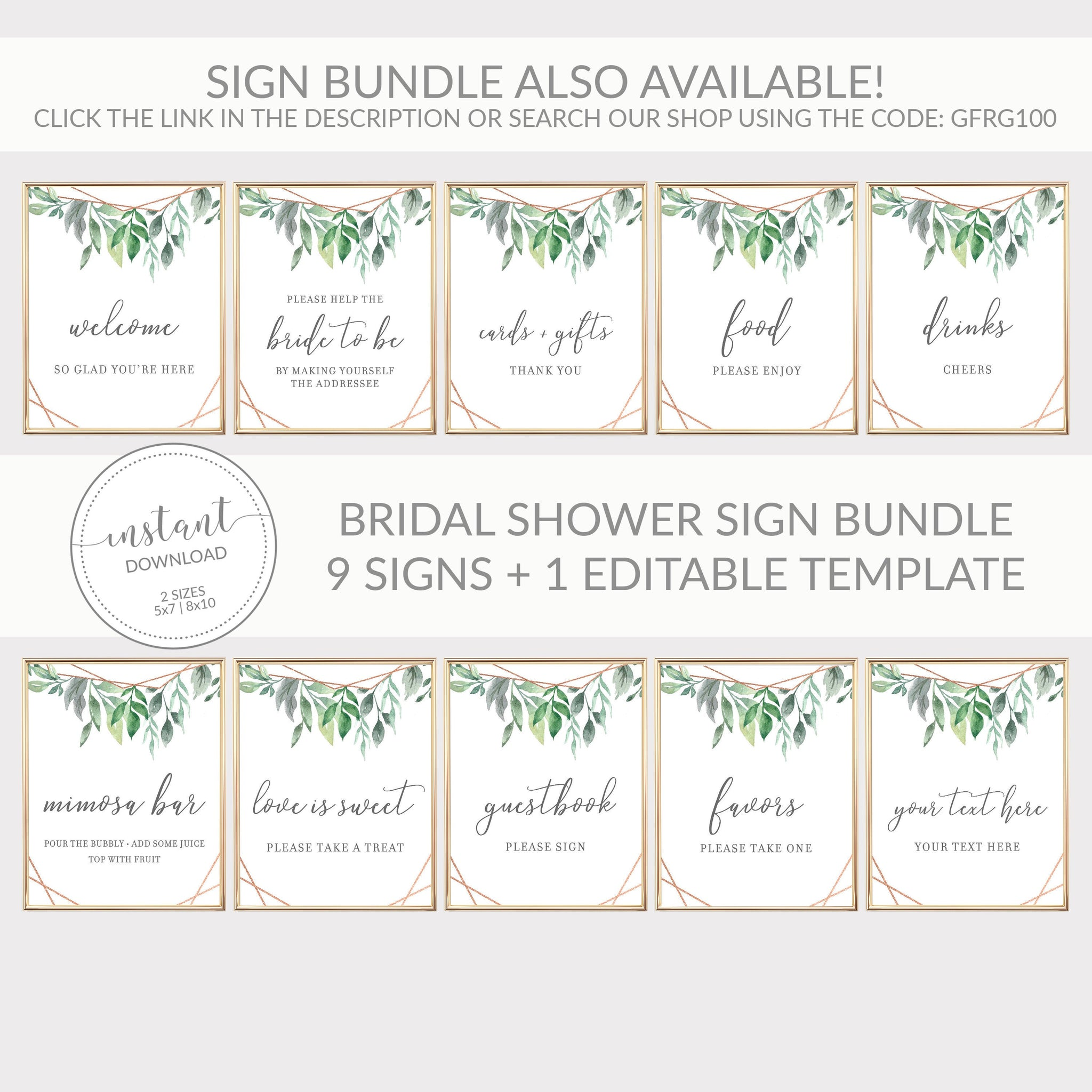 Geometric Rose Gold Greenery Printable Drinks Sign INSTANT DOWNLOAD, Bridal Shower, Baby Shower, Wedding Decorations and Supplies - GFRG100