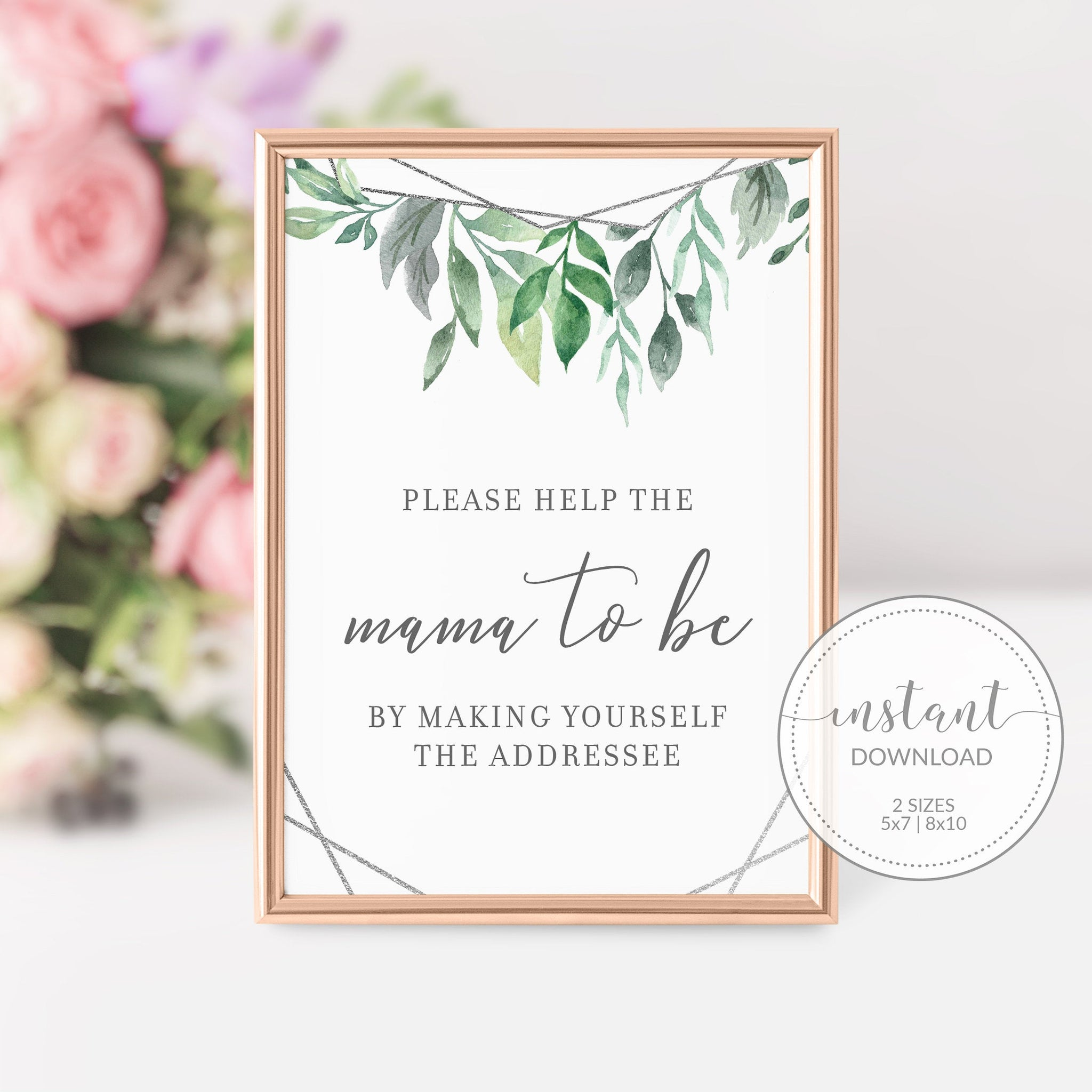 Geometric Silver Greenery Printable Baby Shower Address an Envelope Sign INSTANT DOWNLOAD, Baby Shower Decorations and Supplies - GFS100