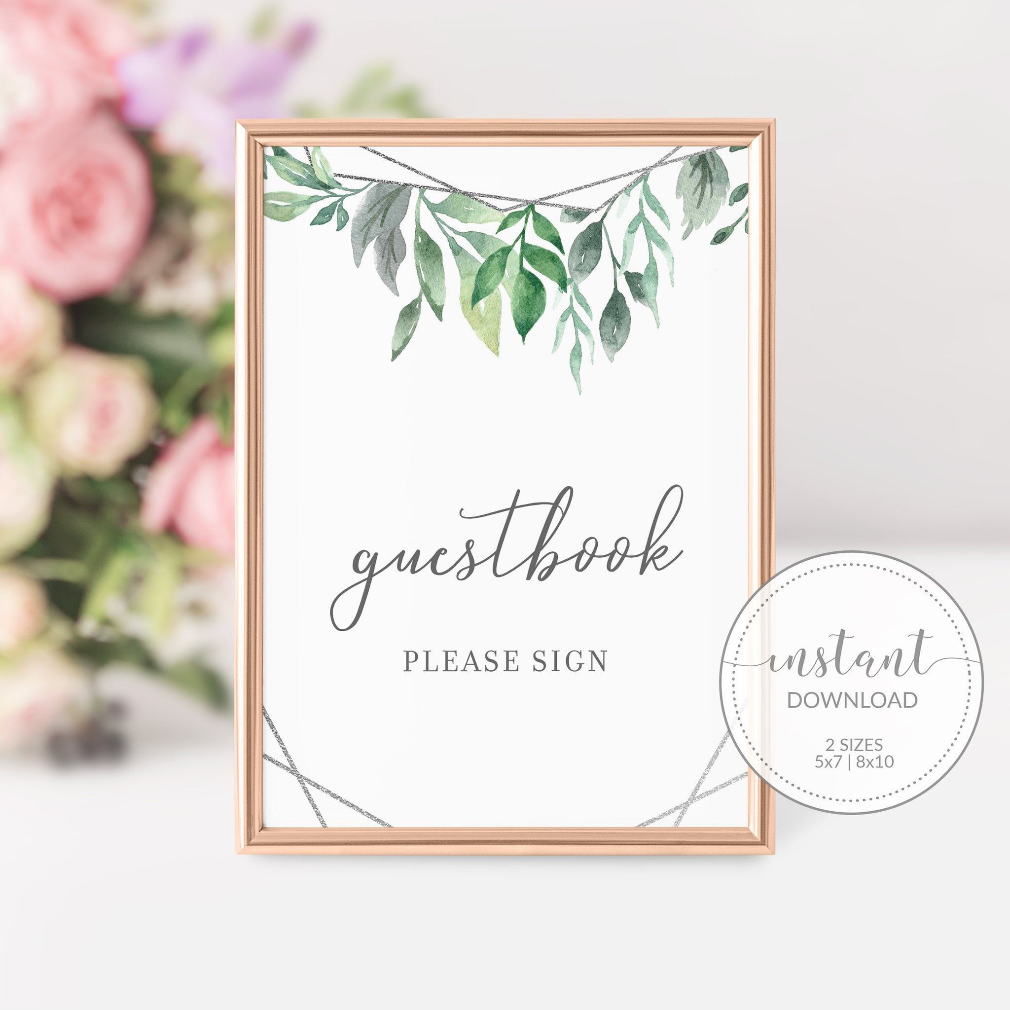 Geometric Silver Greenery Printable Guestbook Sign INSTANT DOWNLOAD, Bridal Shower, Baby Shower, Wedding Decorations Supplies - GFS100 - @PlumPolkaDot