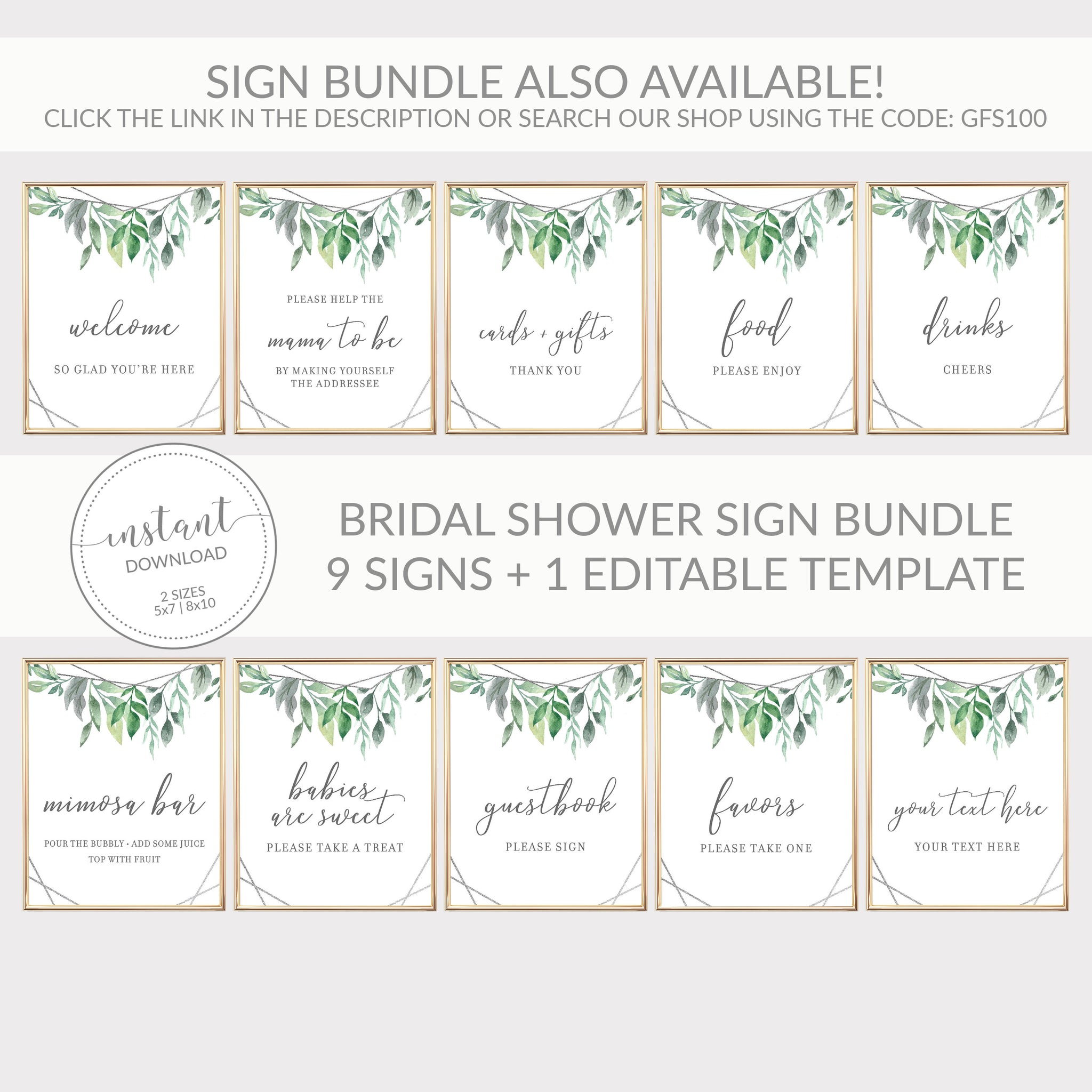 Geometric Silver Greenery Printable Food Sign INSTANT DOWNLOAD, Bridal Shower, Baby Shower, Wedding Decorations and Supplies - GFS100 - @PlumPolkaDot