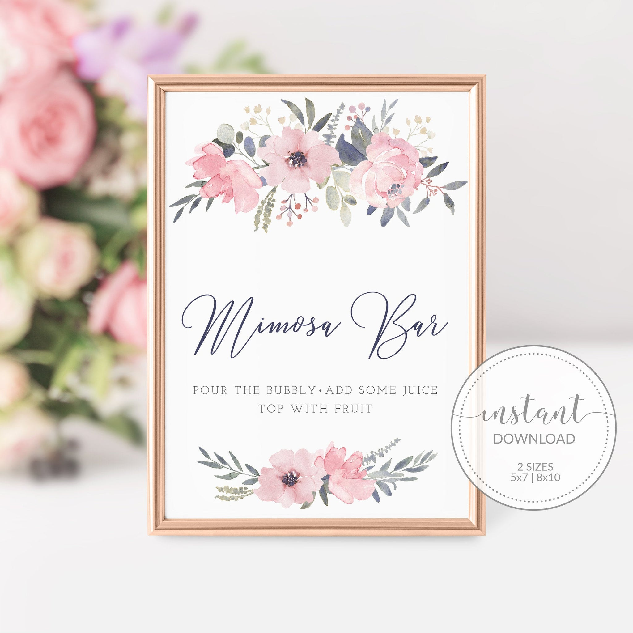 Navy and Blush Floral Mimosa Bar Printable Sign INSTANT DOWNLOAD, Birthday, Bridal Shower, Baby Shower, Wedding Decorations Supplies - NB100 - @PlumPolkaDot