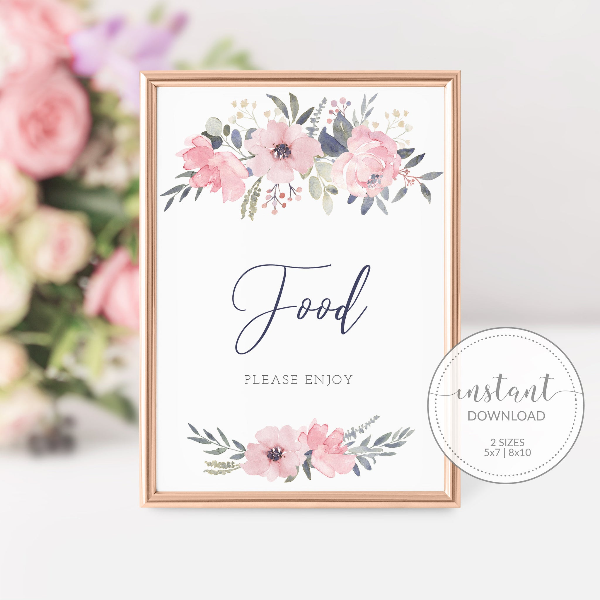 Navy and Blush Floral Printable Food Sign INSTANT DOWNLOAD, Birthday, Bridal Shower, Baby Shower, Wedding Decorations and Supplies - NB100