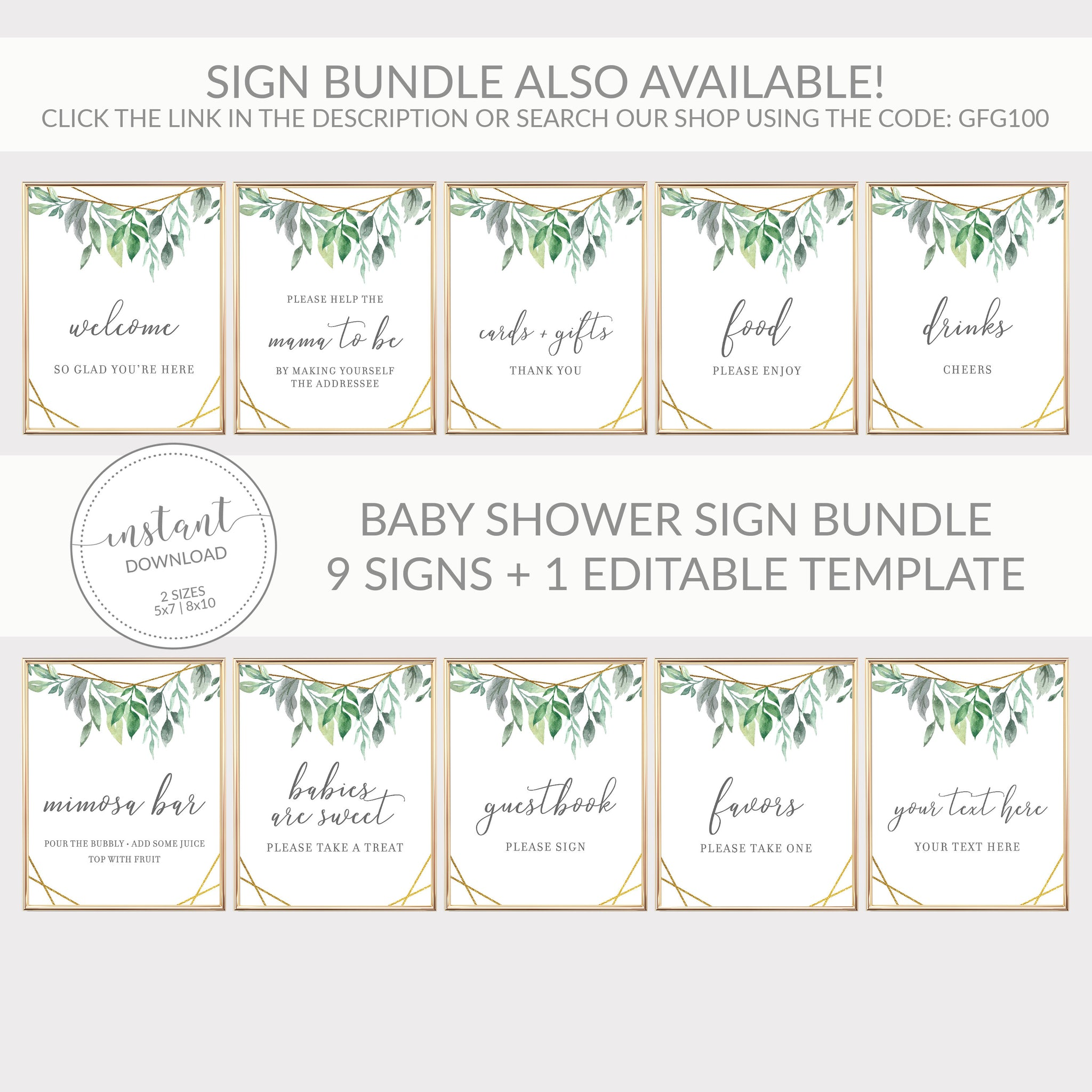 Geometric Gold Greenery Printable Drinks Sign INSTANT DOWNLOAD, Birthday, Bridal Shower, Baby Shower, Wedding Decorations Supplies - GFG100 - @PlumPolkaDot
