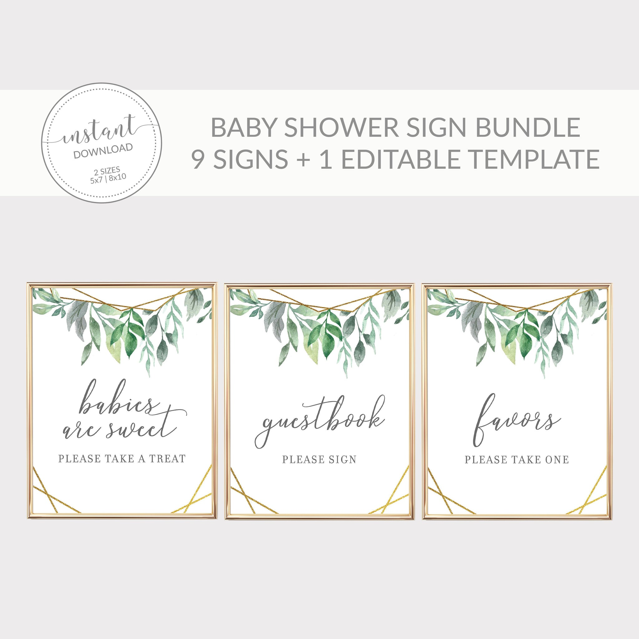 Geometric Gold Greenery Printable Baby Shower Sign Bundle, INSTANT DOWNLOAD, Editable Baby Shower Sign, Sip and See Decorations - GFG100 - @PlumPolkaDot