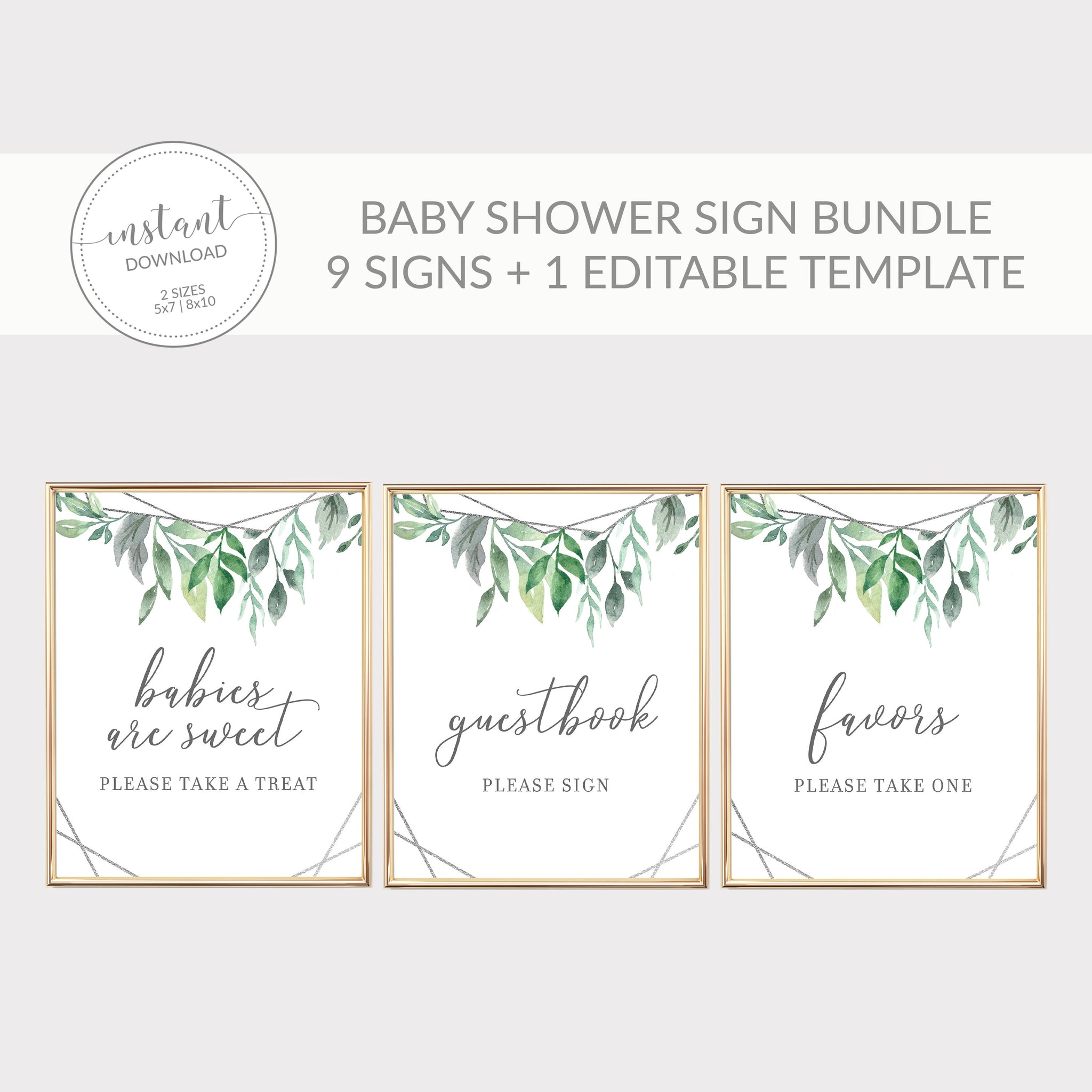 Geometric Silver Greenery Printable Baby Shower Sign Bundle, INSTANT DOWNLOAD, Editable Baby Shower Sign, Sip and See Decorations - GFS100 - @PlumPolkaDot