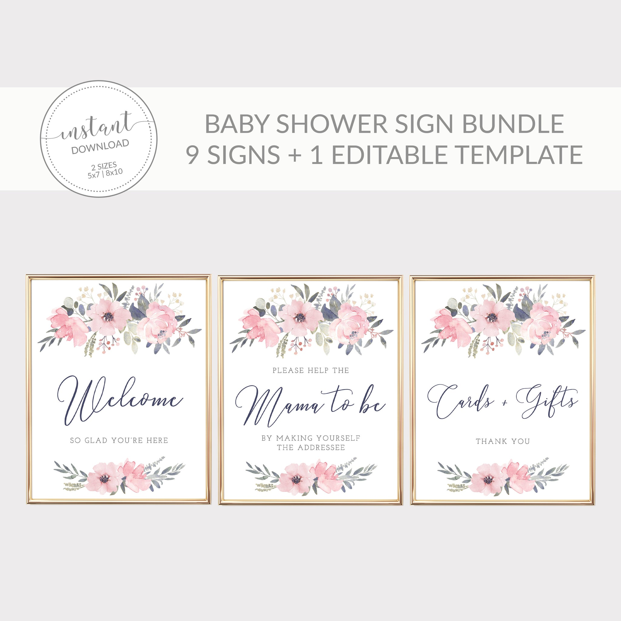 Navy and Blush Floral Printable Baby Shower Sign Bundle, INSTANT DOWNLOAD, Editable Baby Shower Sign, Sip and See Decorations - NB100 - @PlumPolkaDot