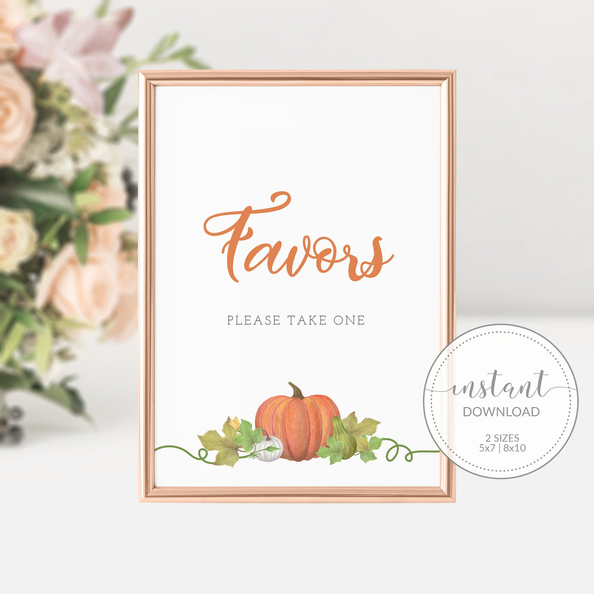 Little Pumpkin Baby Shower Favors Sign, Little Pumpkin Baby Shower Decorations, INSTANT DOWNLOAD - HP100 - @PlumPolkaDot