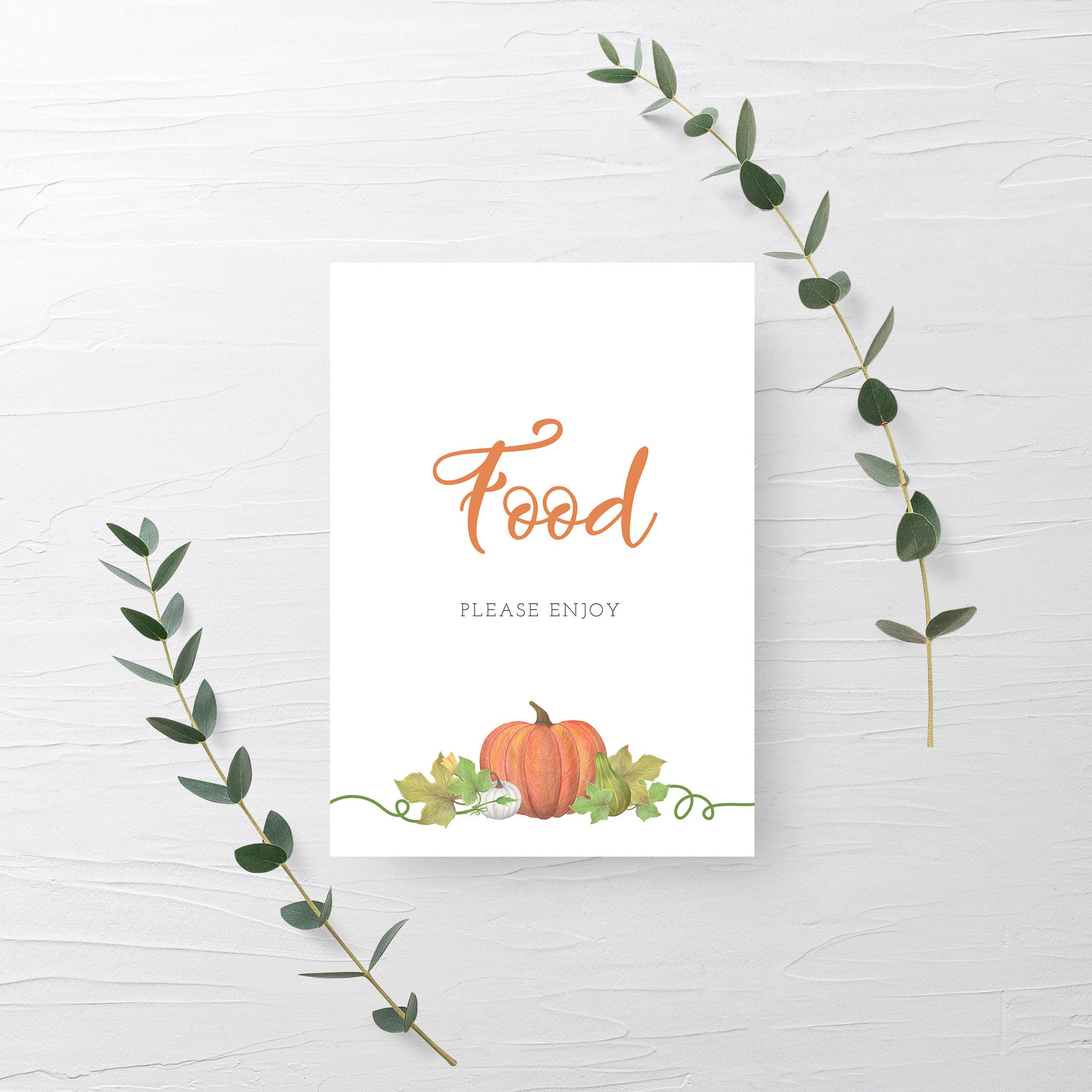 Pumpkin Baby Shower Food Sign Printable INSTANT DOWNLOAD, Pumpkin Birthday Party Sign, Pumpkin Baby Shower Decorations and Supplies - HP100 - @PlumPolkaDot