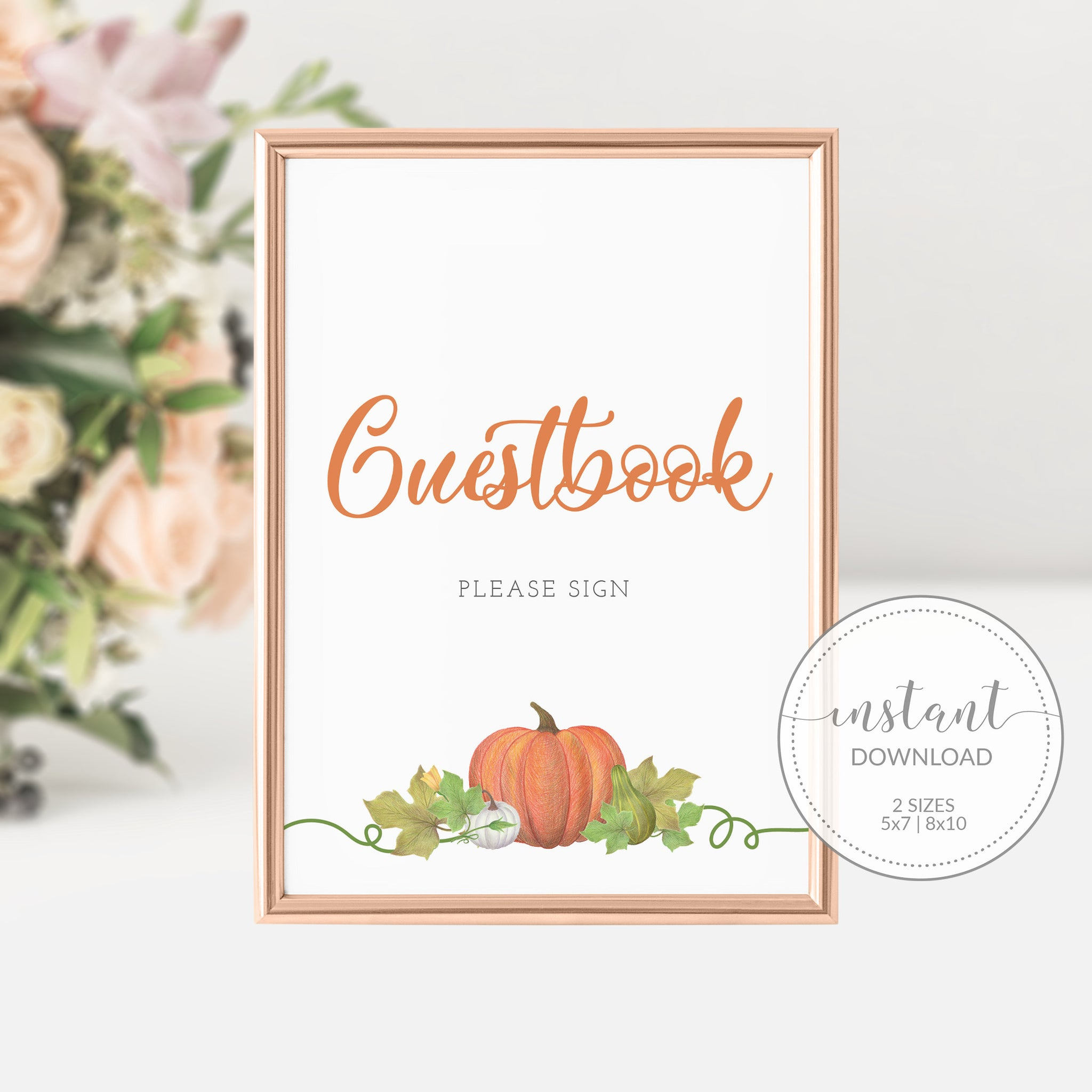 Pumpkin Baby Shower Guestbook Sign Printable INSTANT DOWNLOAD, Pumpkin Birthday Party Sign, Pumpkin Baby Shower Decorations Supplies - HP100 - @PlumPolkaDot