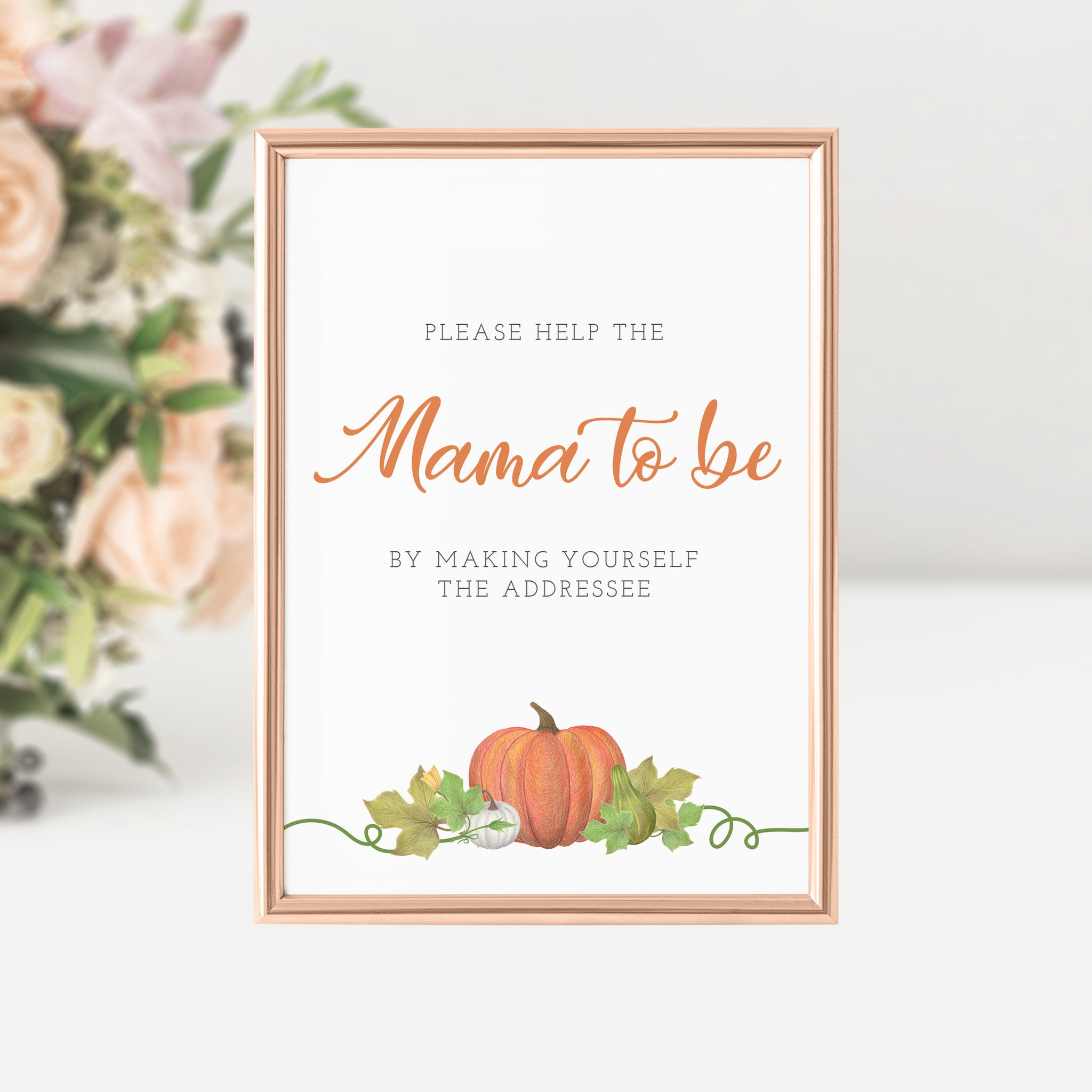 Pumpkin Baby Shower Address an Envelope Sign Printable INSTANT DOWNLOAD, Fall Baby Shower Sign, Pumpkin Baby Shower Decorations - HP100 - @PlumPolkaDot