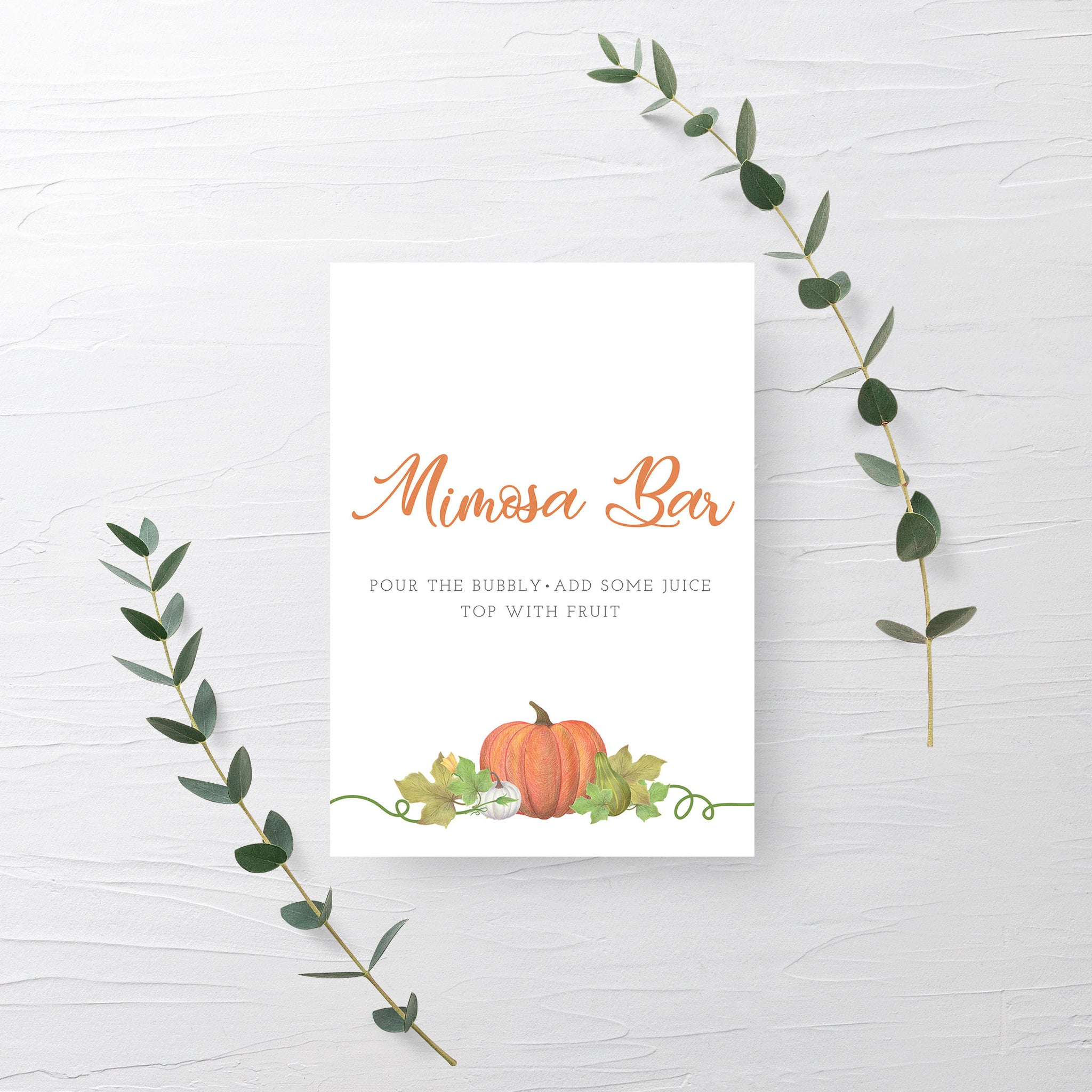 Pumpkin Bridal Shower Mimosa Bar Sign Printable INSTANT DOWNLOAD, Pumpkin Birthday Sign, Pumpkin Baby Shower Decorations Supplies - HP100 - @PlumPolkaDot