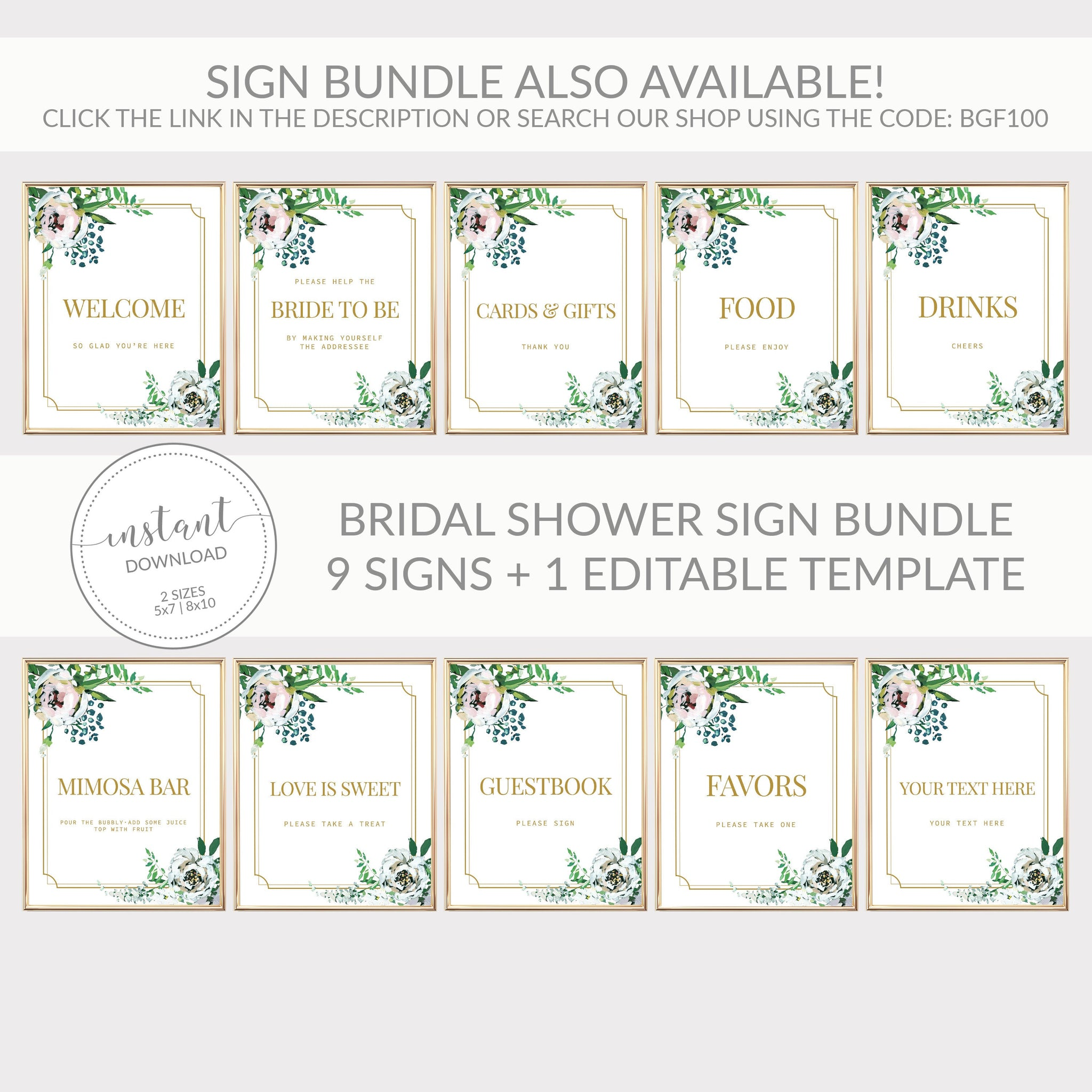 Blush Floral Greenery Mimosa Bar Sign Printable INSTANT DOWNLOAD, Wedding Decoration, Gold Bridal Shower Brunch Sign Bubbly Bar - BGF100