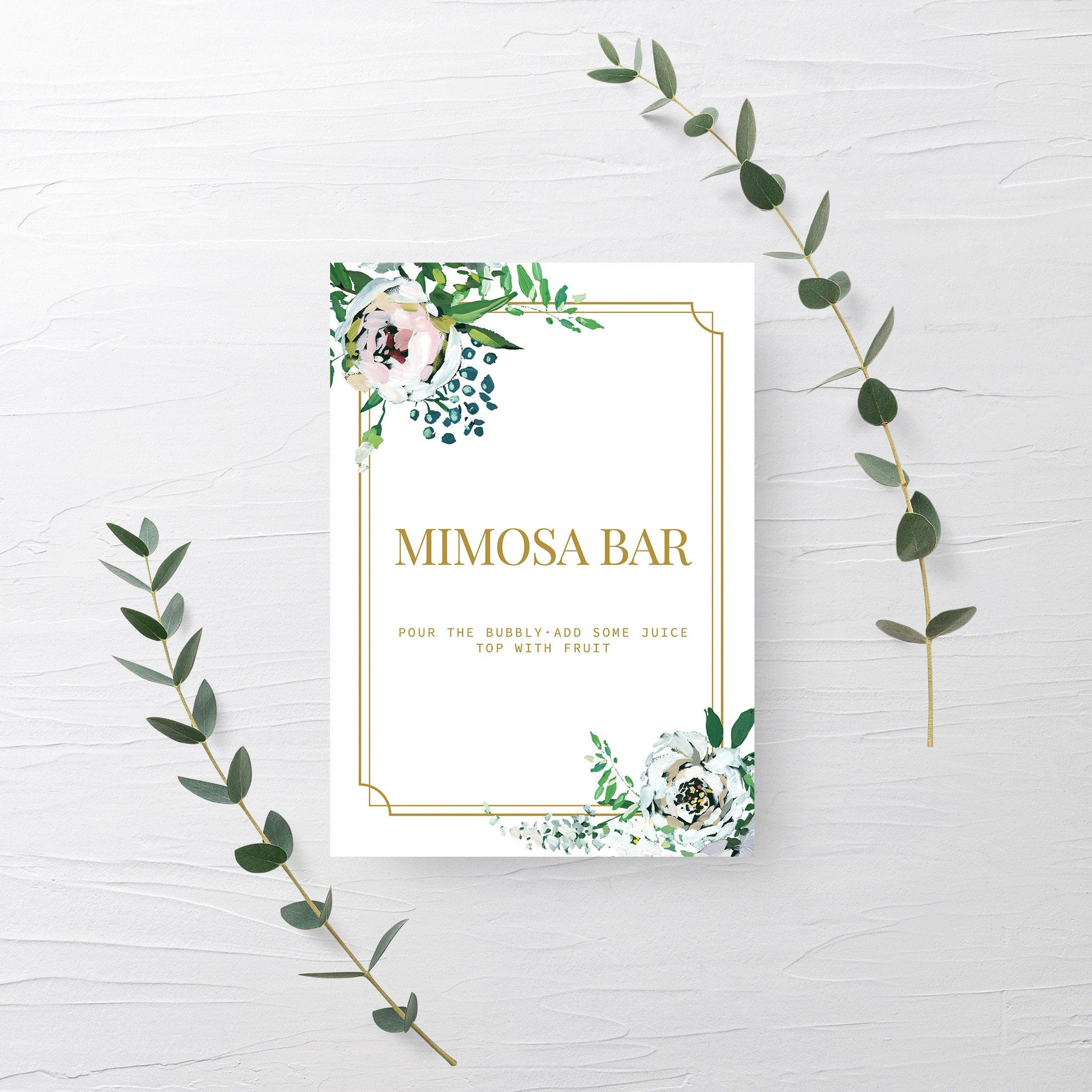Blush Floral Greenery Mimosa Bar Sign Printable INSTANT DOWNLOAD, Wedding Decoration, Gold Bridal Shower Brunch Sign Bubbly Bar - BGF100 - @PlumPolkaDot
