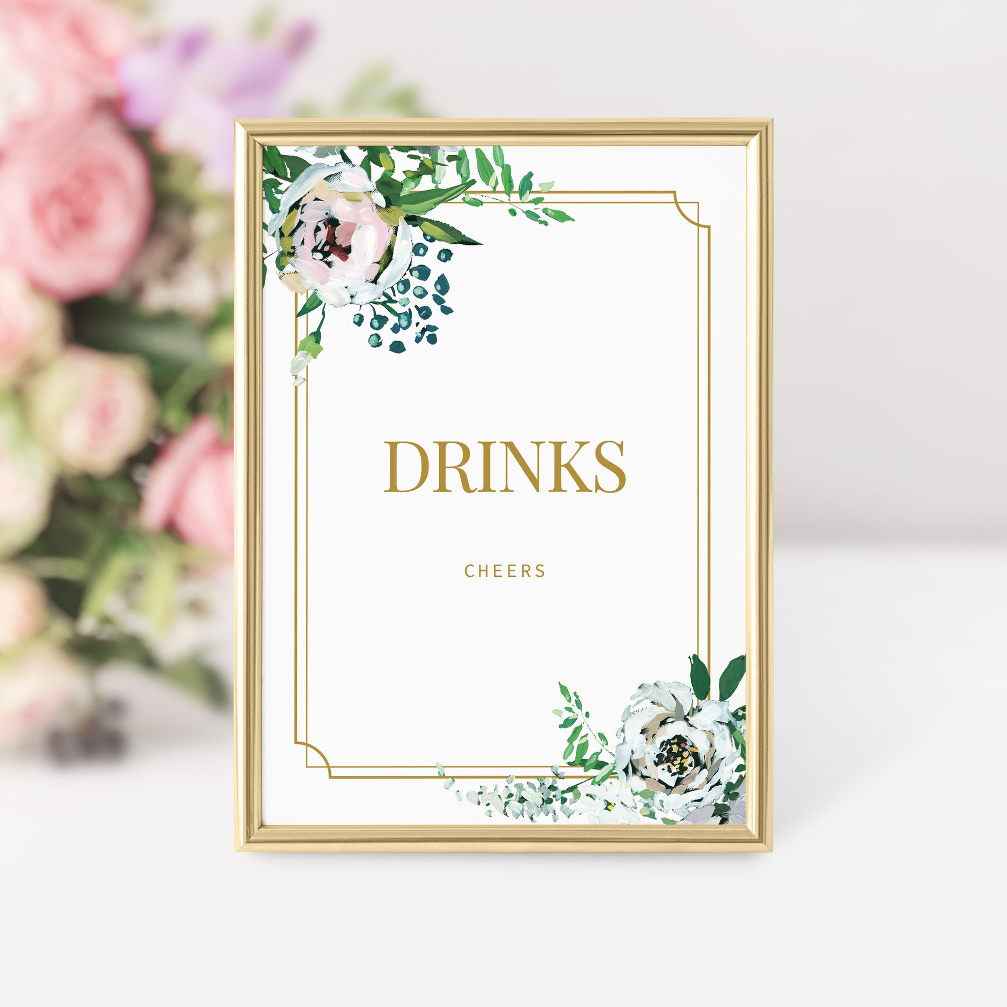 Blush Floral Greenery Drinks Sign Printable INSTANT DOWNLOAD, Gold Birthday, Baby Shower, Bridal Shower, Wedding Decoration - BGF100 - @PlumPolkaDot