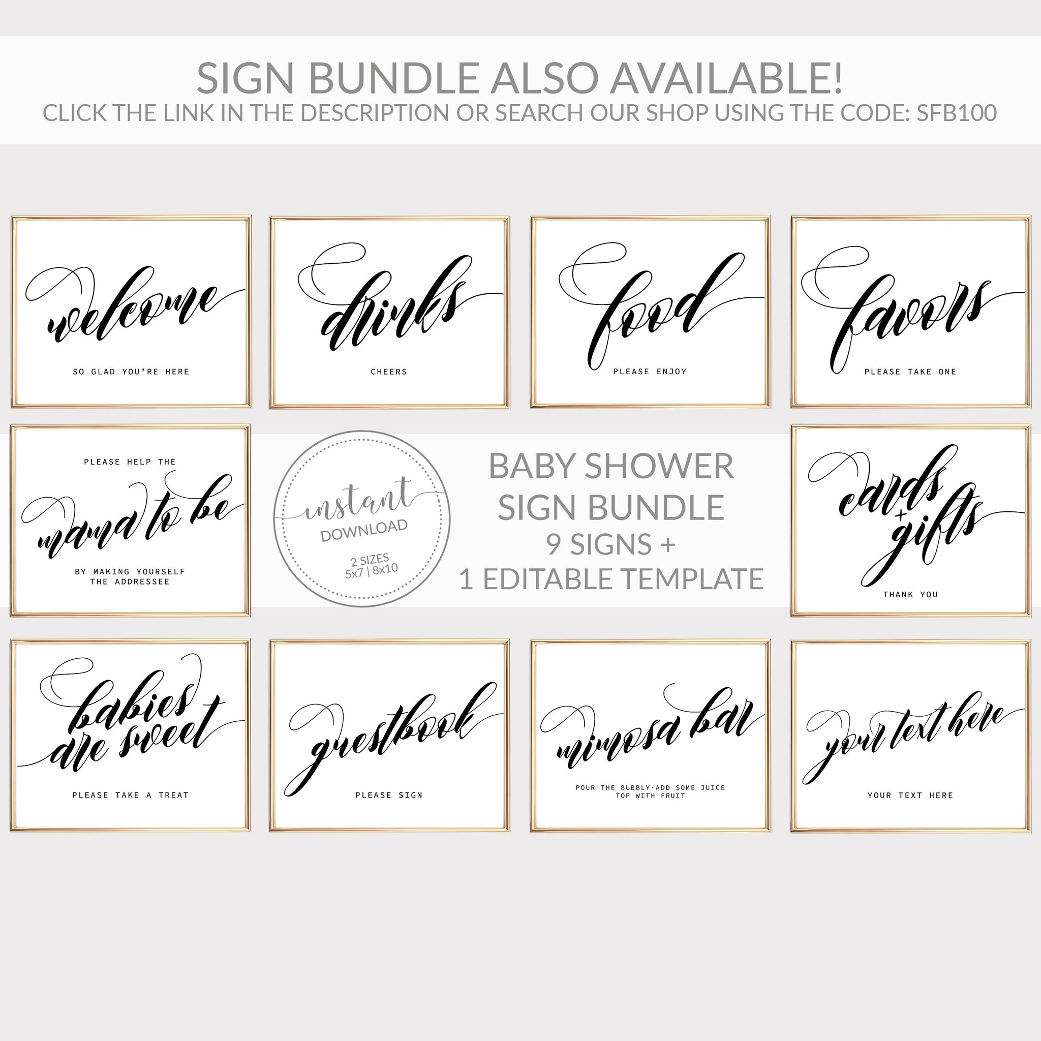 Food Sign Wedding, Minimalist Wedding Food Sign, Bridal Shower Decor, Food Sign Printable, INSTANT DOWNLOAD - SFB100 - @PlumPolkaDot