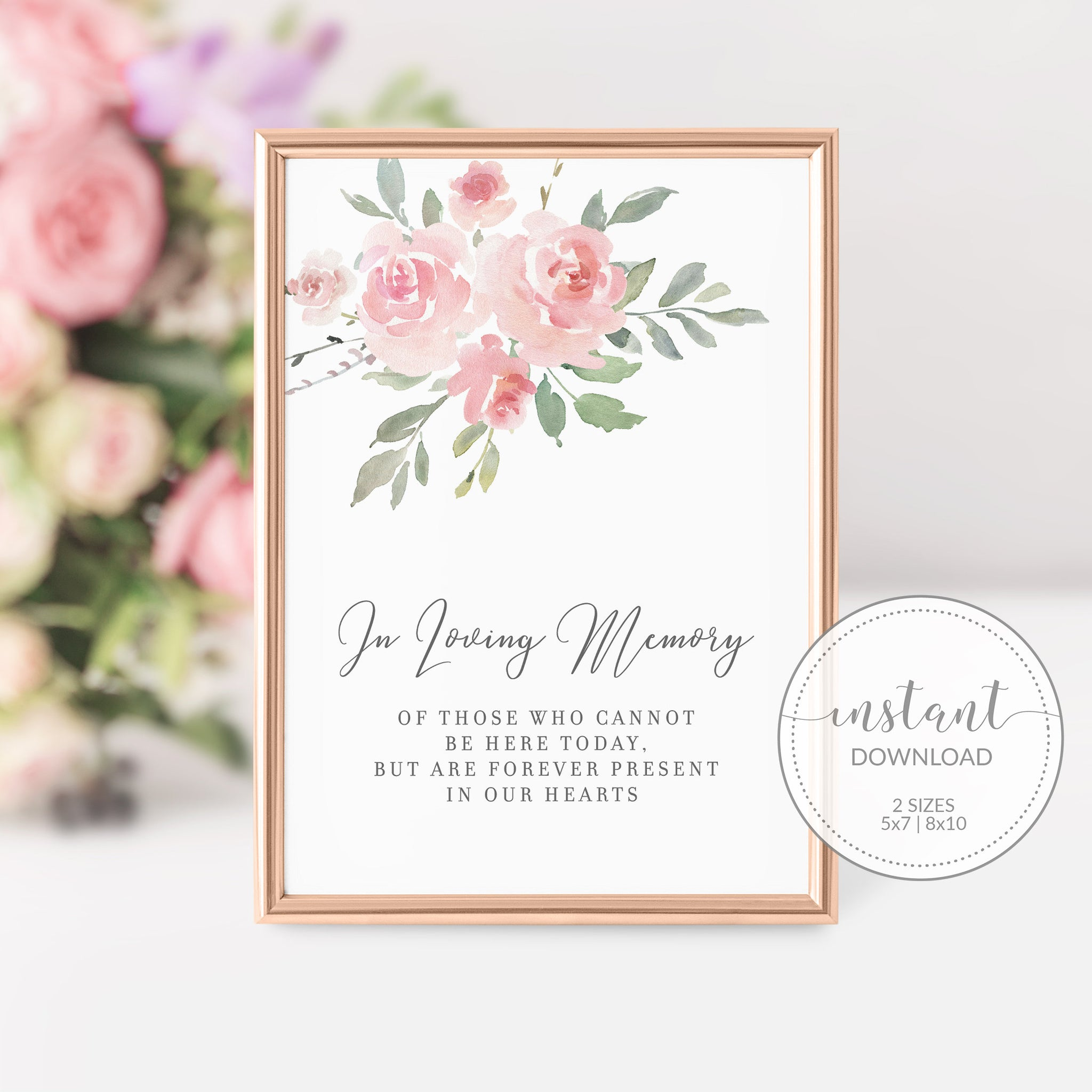 Blush Pink Floral Wedding Memorial Sign, In Loving Memory Sign Printable, Remembrance Sign Wedding, INSTANT DOWNLOAD - FR100