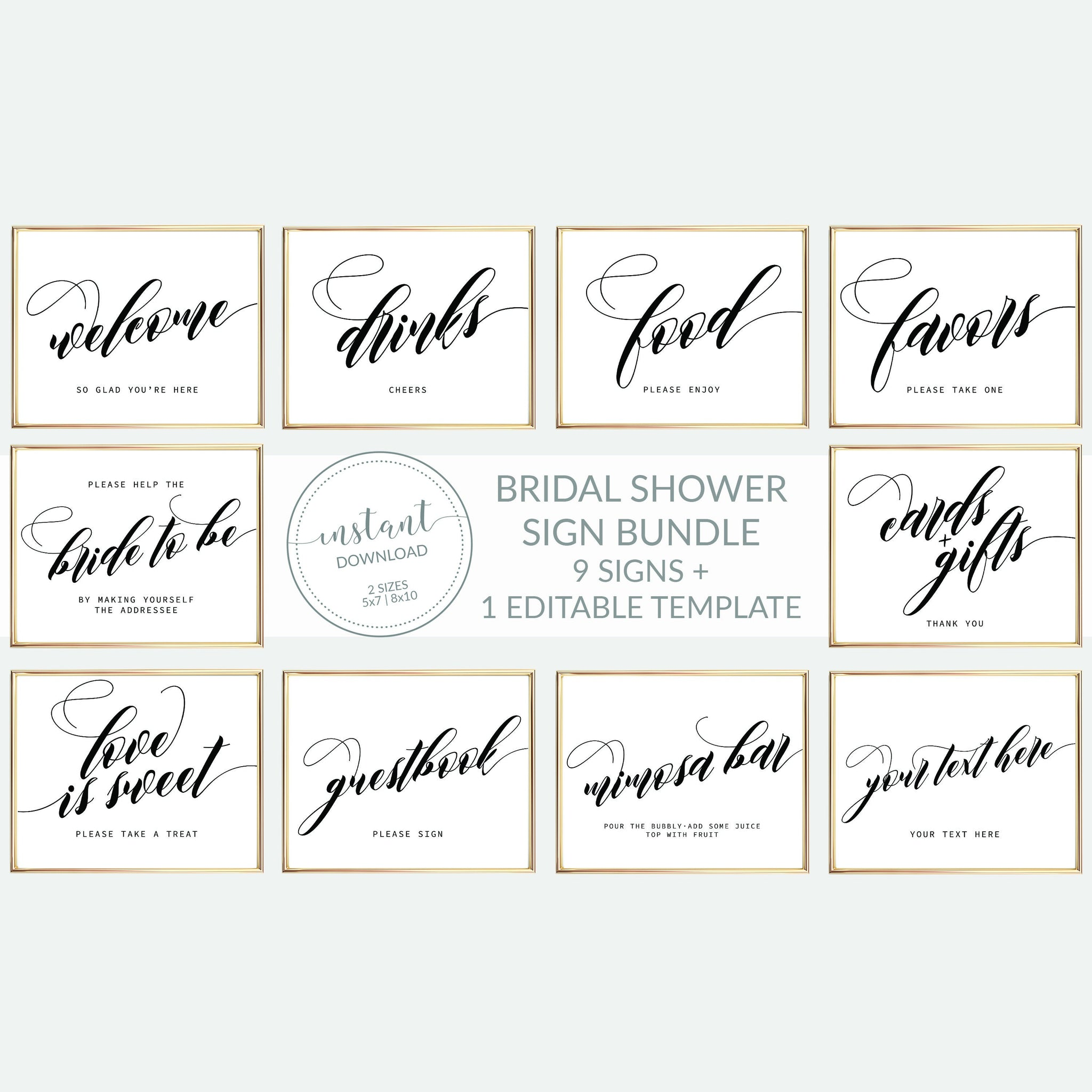 Printable Bridal Shower Signs Set, Minimalist Wedding Shower Sign Template, INSTANT DOWNLOAD, Black and White Decorations Supplies - SFB100 - @PlumPolkaDot