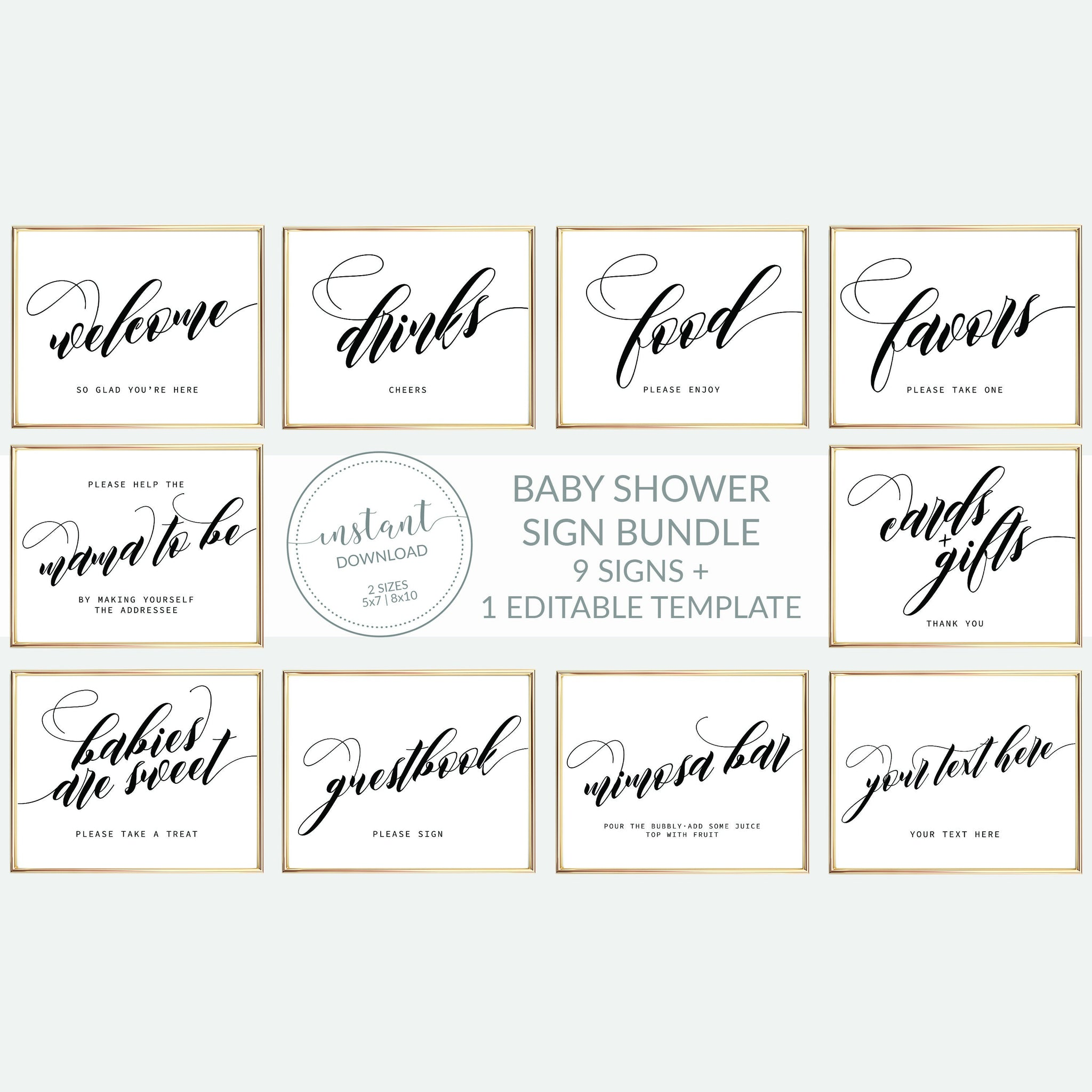 Printable Baby Shower Signs Set, Minimalist Baby Shower Sign Template, INSTANT DOWNLOAD, Black and White Decorations Supplies - SFB100 - @PlumPolkaDot