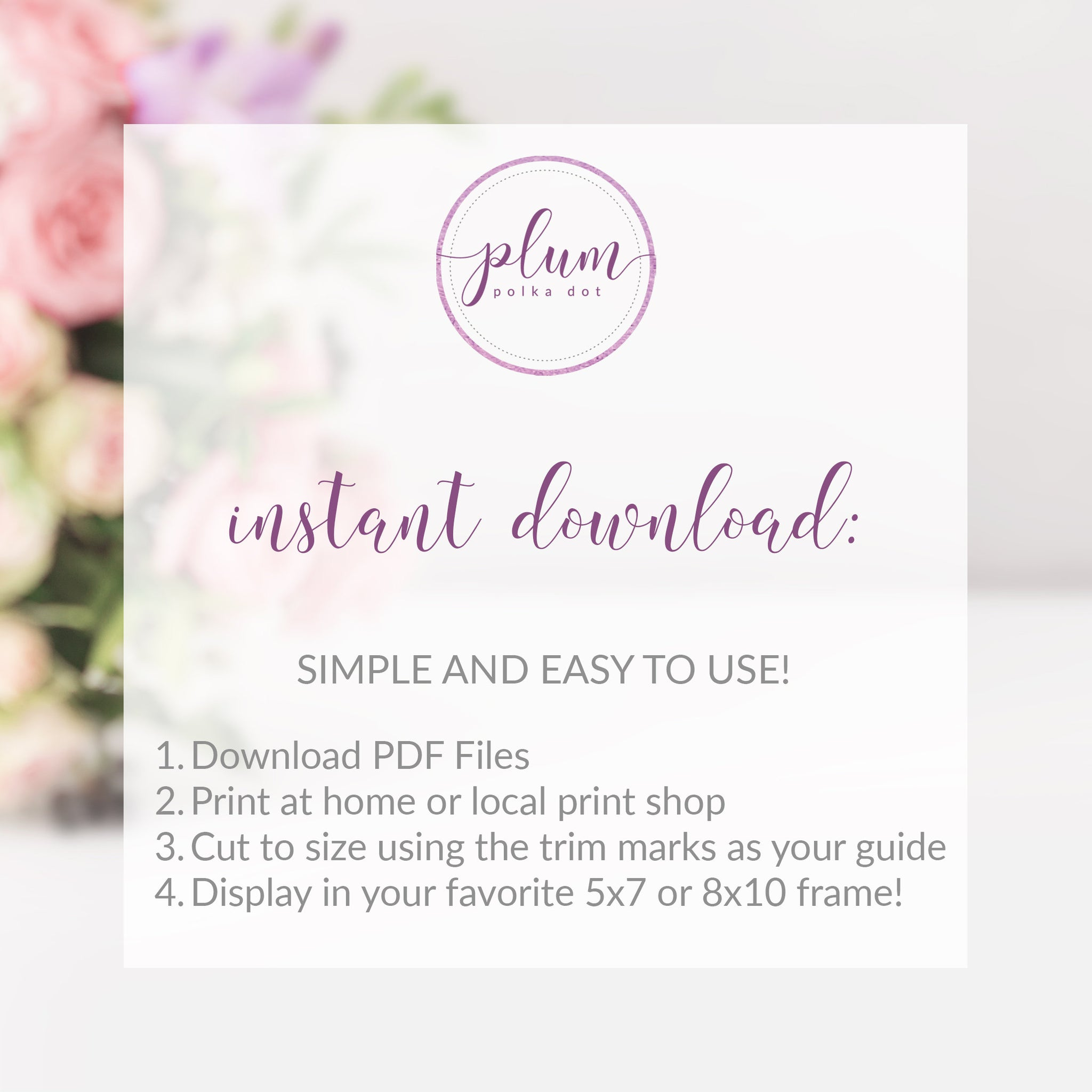 Blush Floral Greenery Welcome Sign Printable INSTANT DOWNLOAD, Gold Welcome Sign for Bridal Shower, Baby Shower, Wedding Decoration - BGF100 - @PlumPolkaDot