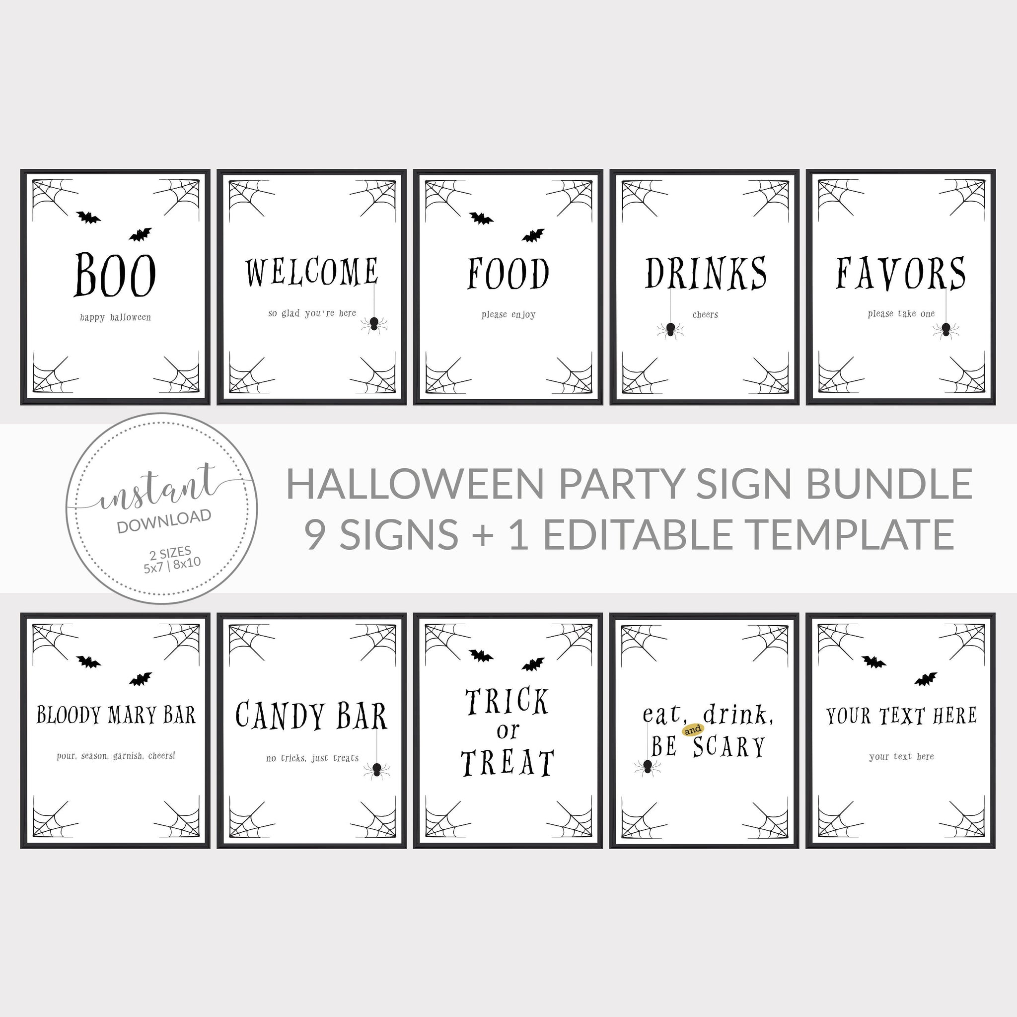 Halloween Party Printable Sign Bundle, Halloween Party Decor, Halloween Signs, Halloween Birthday Party Decor, INSTANT DOWNLOAD - EDS100 - @PlumPolkaDot