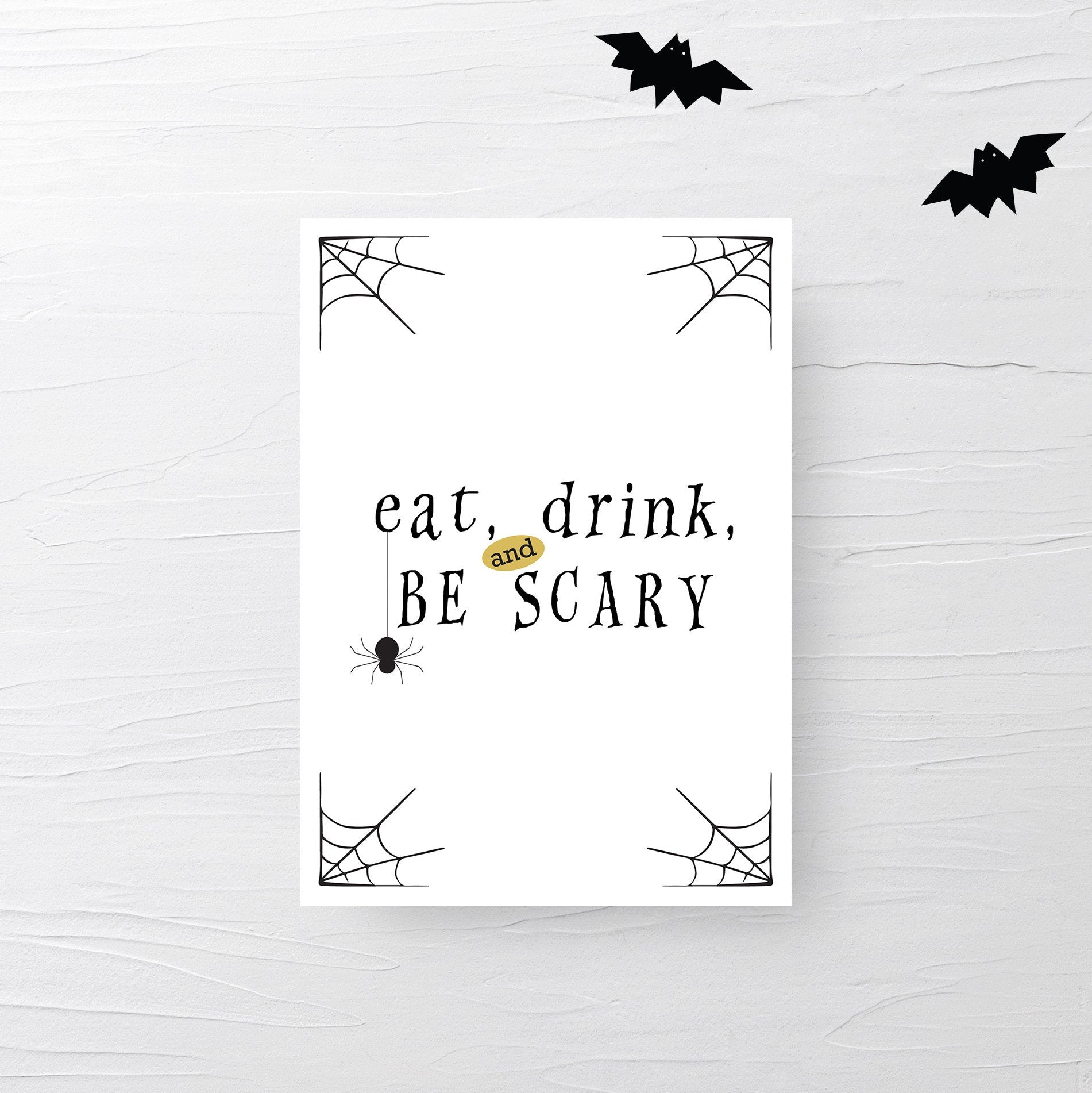 Eat Drink and Be Scary Sign Printable, Halloween Decor Spider, Halloween Decorations INSTANT DOWNLOAD, Halloween Party Decor - EDS100 - @PlumPolkaDot