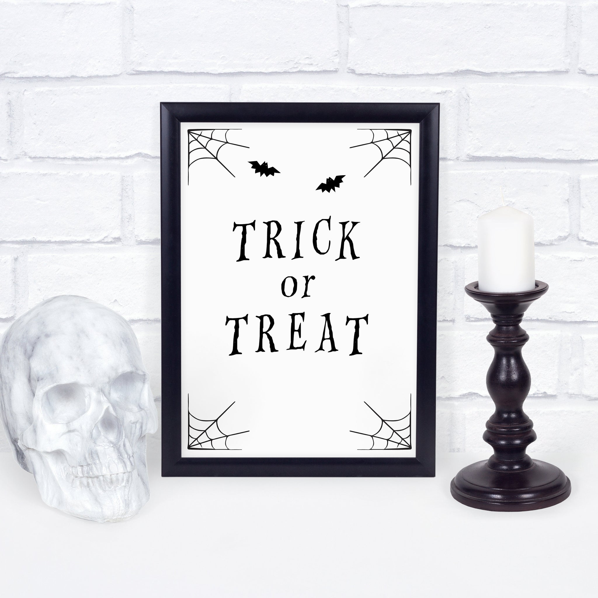 Trick or Treat Sign Printable, Halloween Decor Porch Sign, Halloween Door Decor INSTANT DOWNLOAD, Halloween Party Decor - EDS100 - @PlumPolkaDot