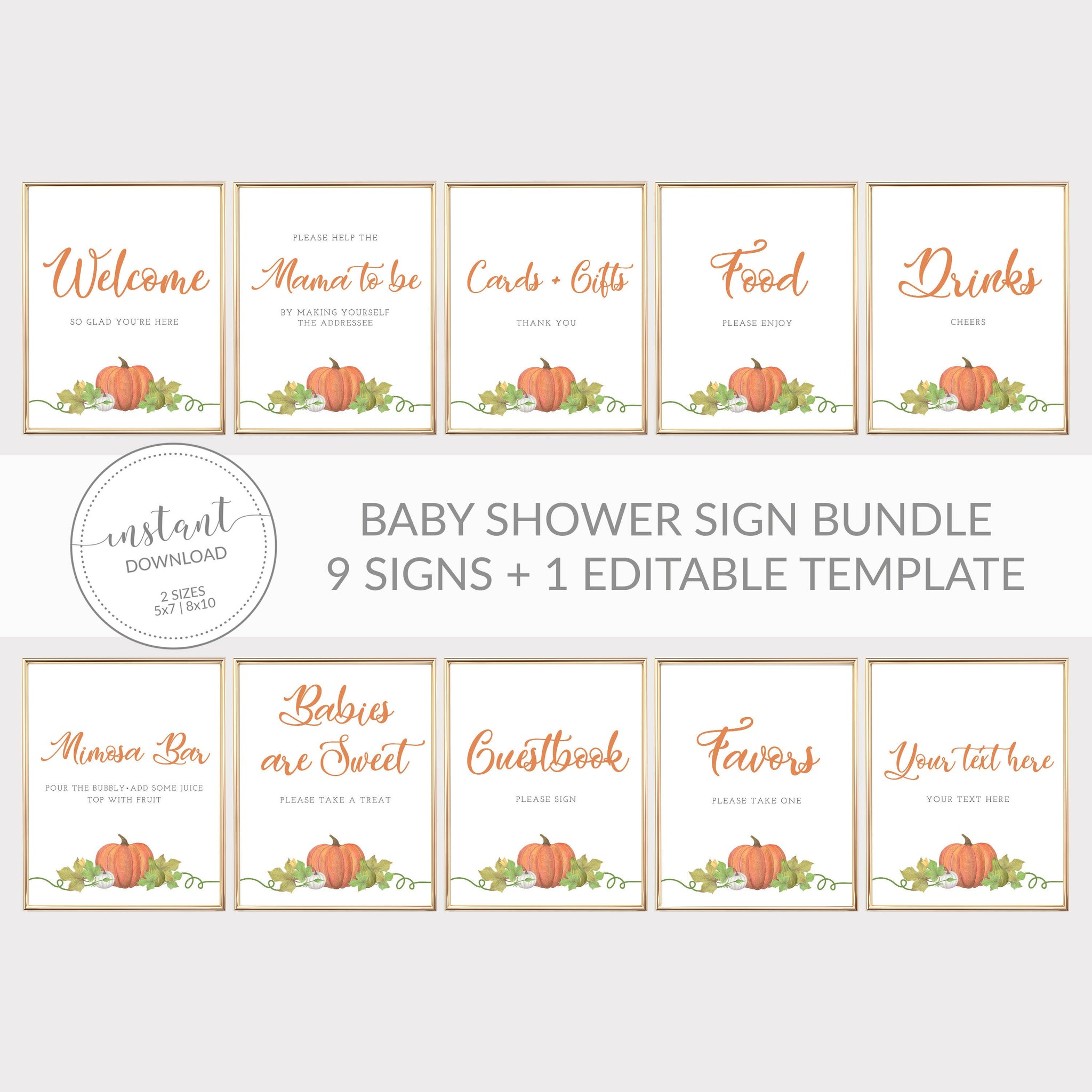 Little Pumpkin Baby Shower Sign Bundle, Little Pumpkin Baby Shower Decorations, Halloween Baby Shower, INSTANT DOWNLOAD - HP100 - @PlumPolkaDot