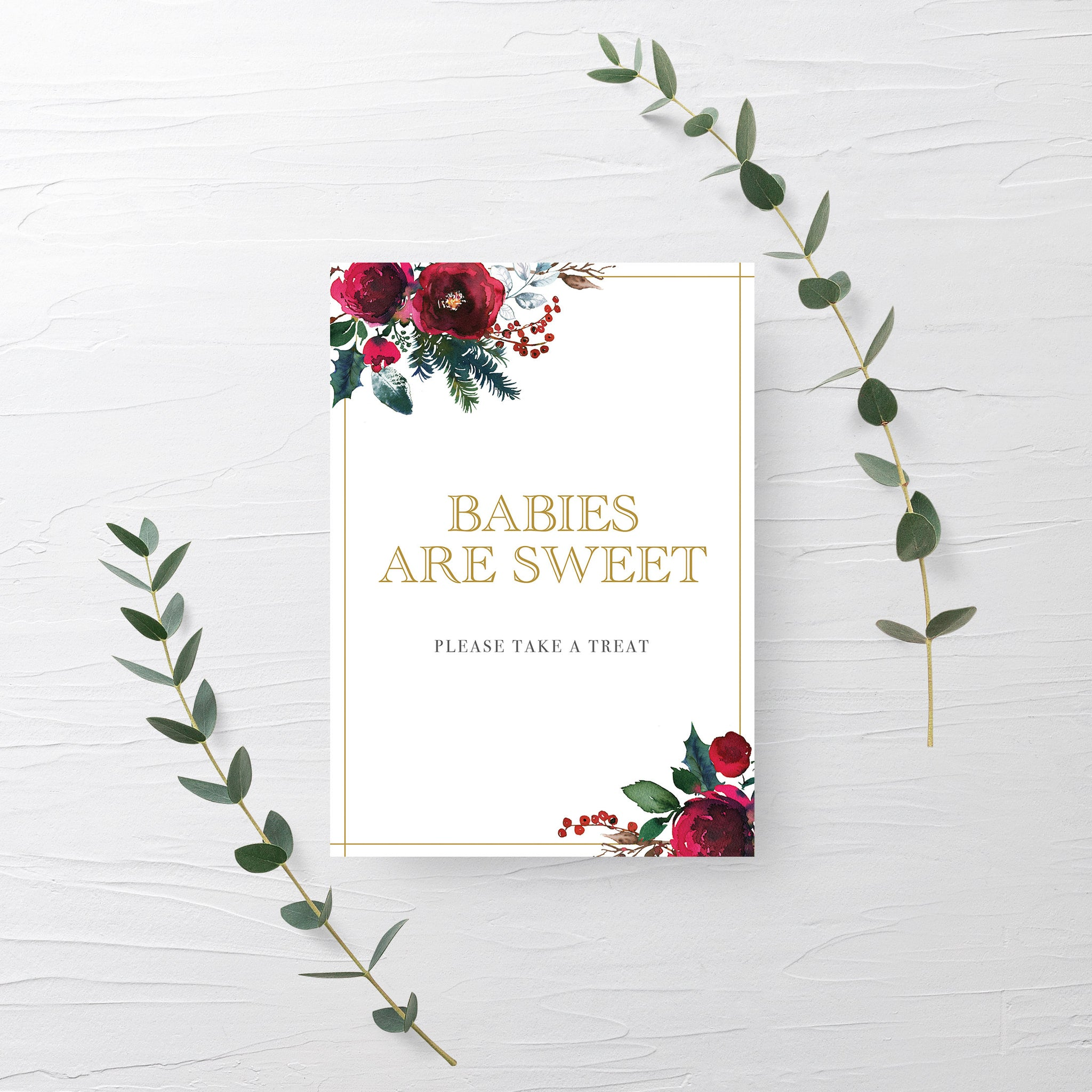 Christmas Baby Shower Treat Sign Printable, Babies Are Sweet Dessert Table Sign, Winter Baby Shower Decorations, INSTANT DOWNLOAD - CG100