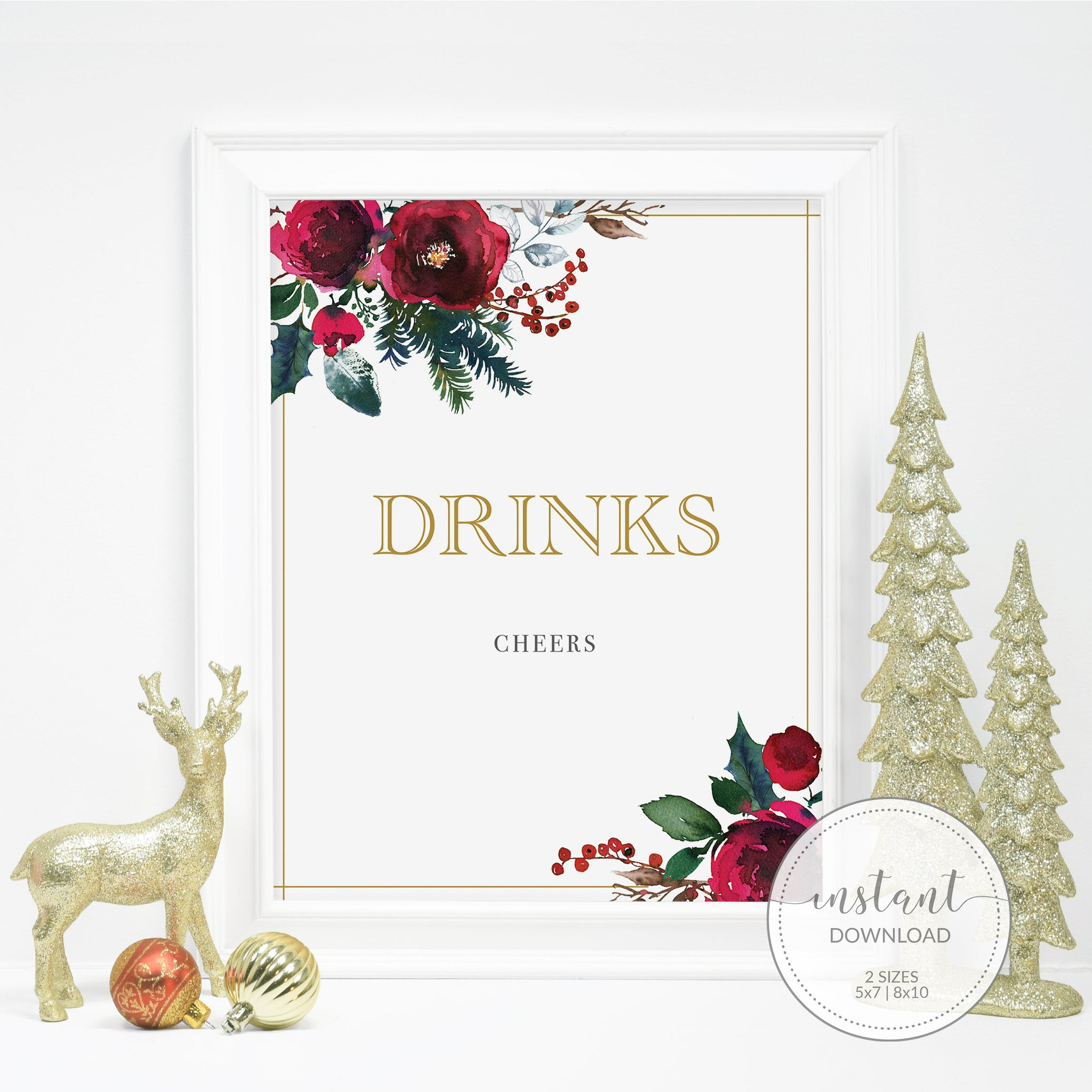 Christmas Party Drinks Sign Printable, Christmas Bridal Shower Sign, Holiday Party Printable Decorations, INSTANT DOWNLOAD - CG100