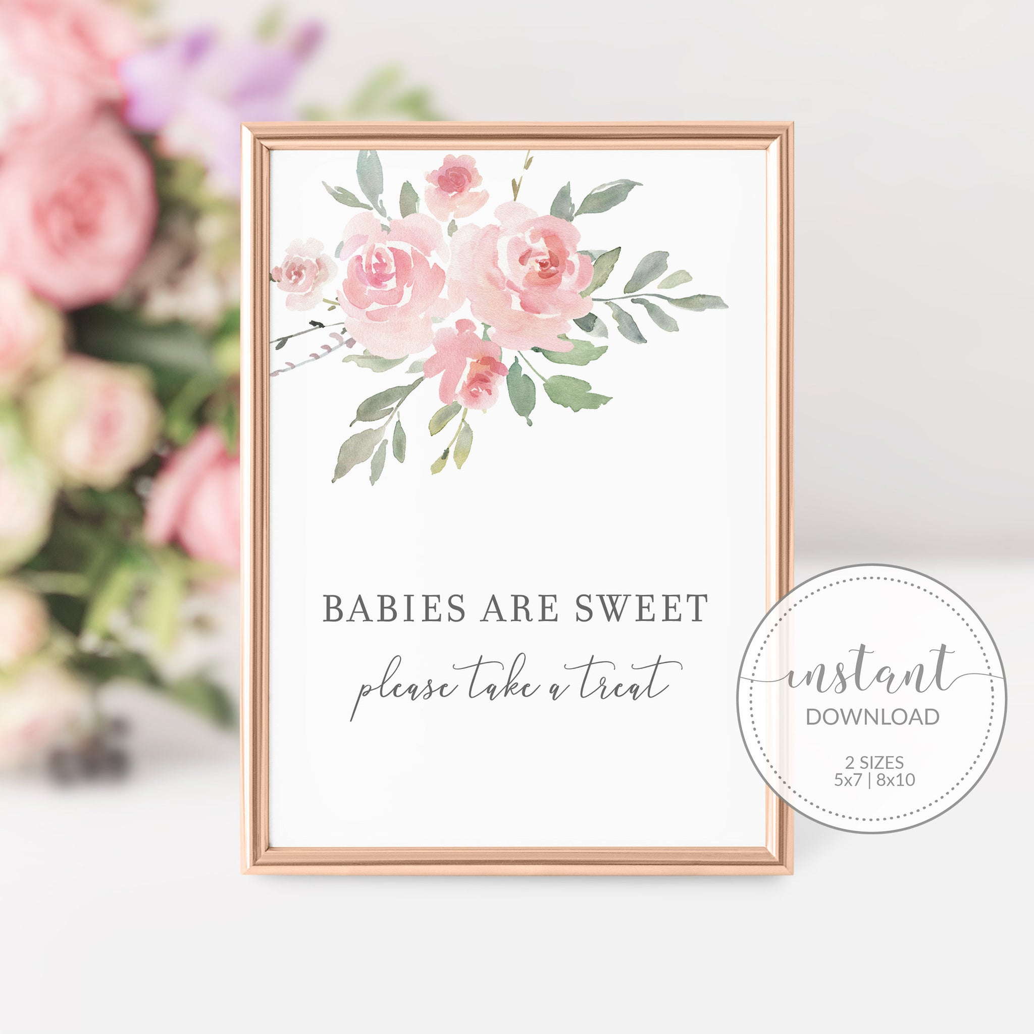 Baby Shower Treat Sign, Baby Shower Dessert Table Sign, Floral Baby Shower Decorations, DIGITAL DOWNLOAD - FR100 - @PlumPolkaDot