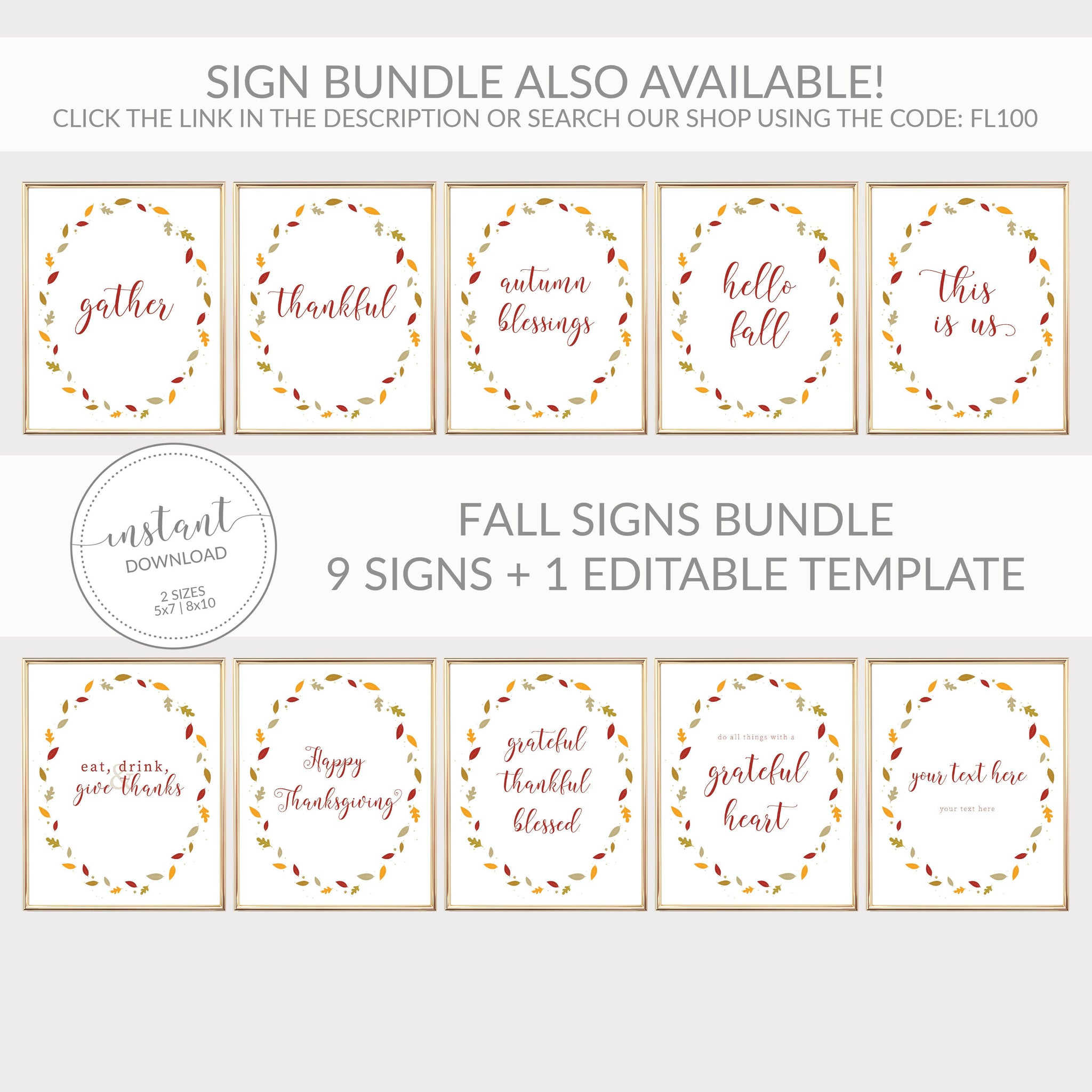 Grateful Thankful Blessed Sign, Fall Decor Printable, Thanksgiving Decorations, Fall Leaves Printable Sign, INSTANT DOWNLOAD - FL100 - @PlumPolkaDot