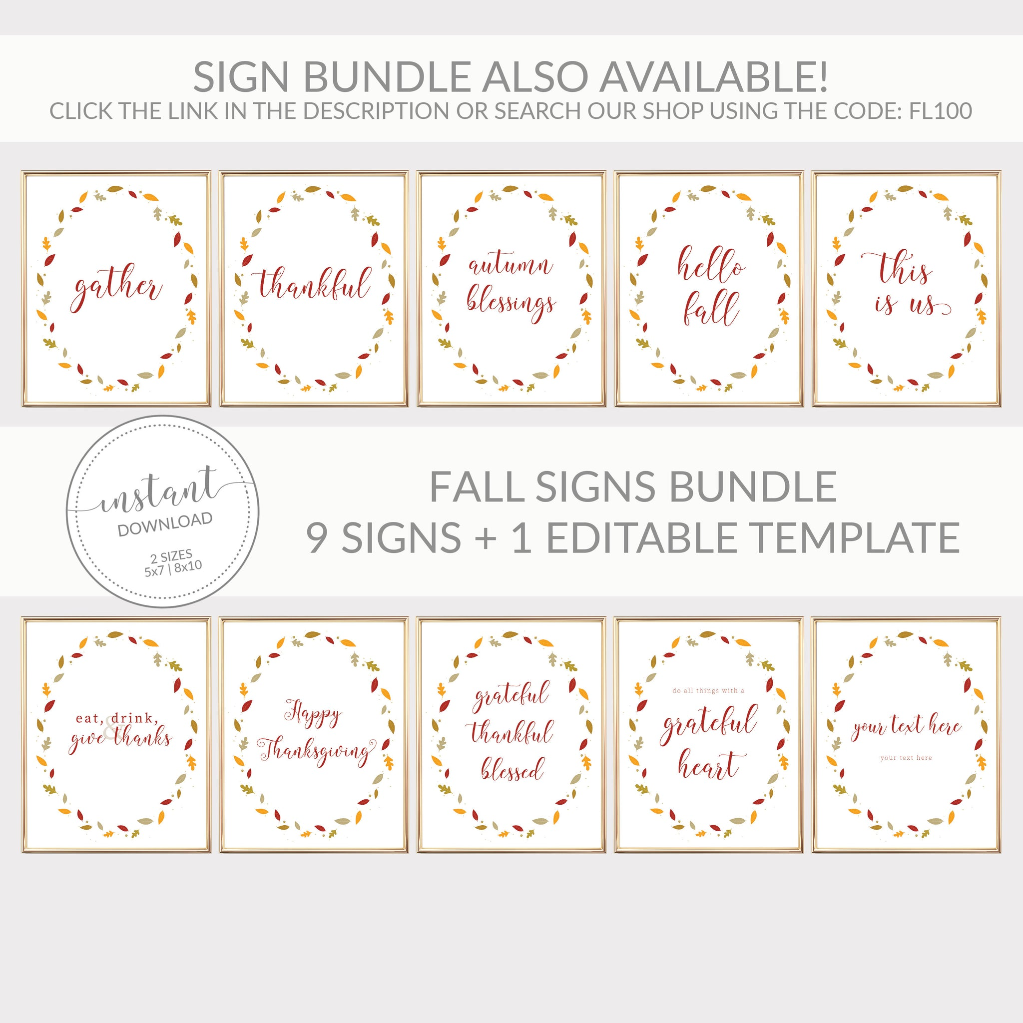 Hello Fall Sign, Hello Fall Printable, Fall Decor Leaves, Fall Decorations for Home, Fall Printable Art, INSTANT DOWNLOAD - FL100 - @PlumPolkaDot