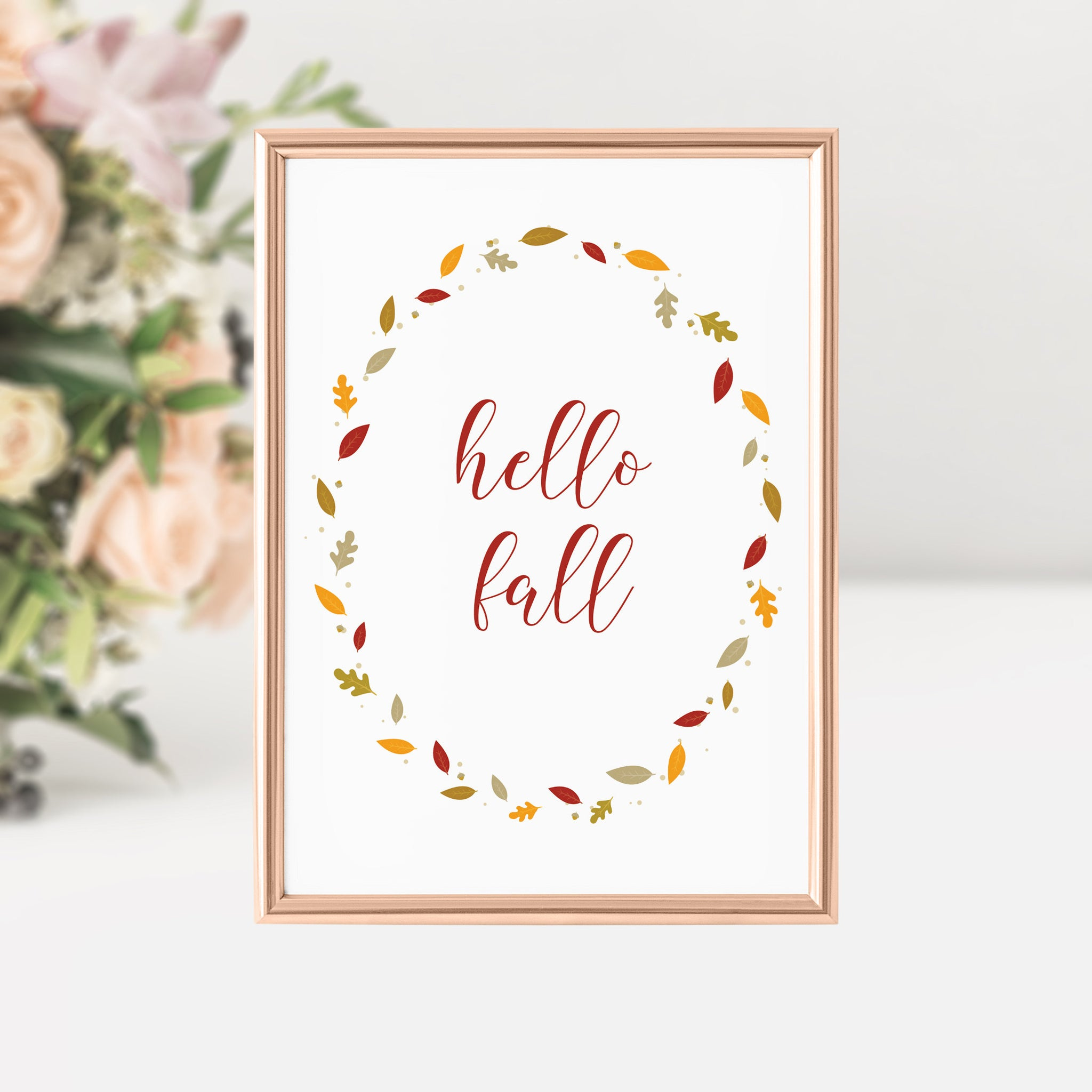 Hello Fall Sign, Hello Fall Printable, Fall Decor Leaves, Fall Decorations for Home, Fall Printable Art, INSTANT DOWNLOAD - FL100