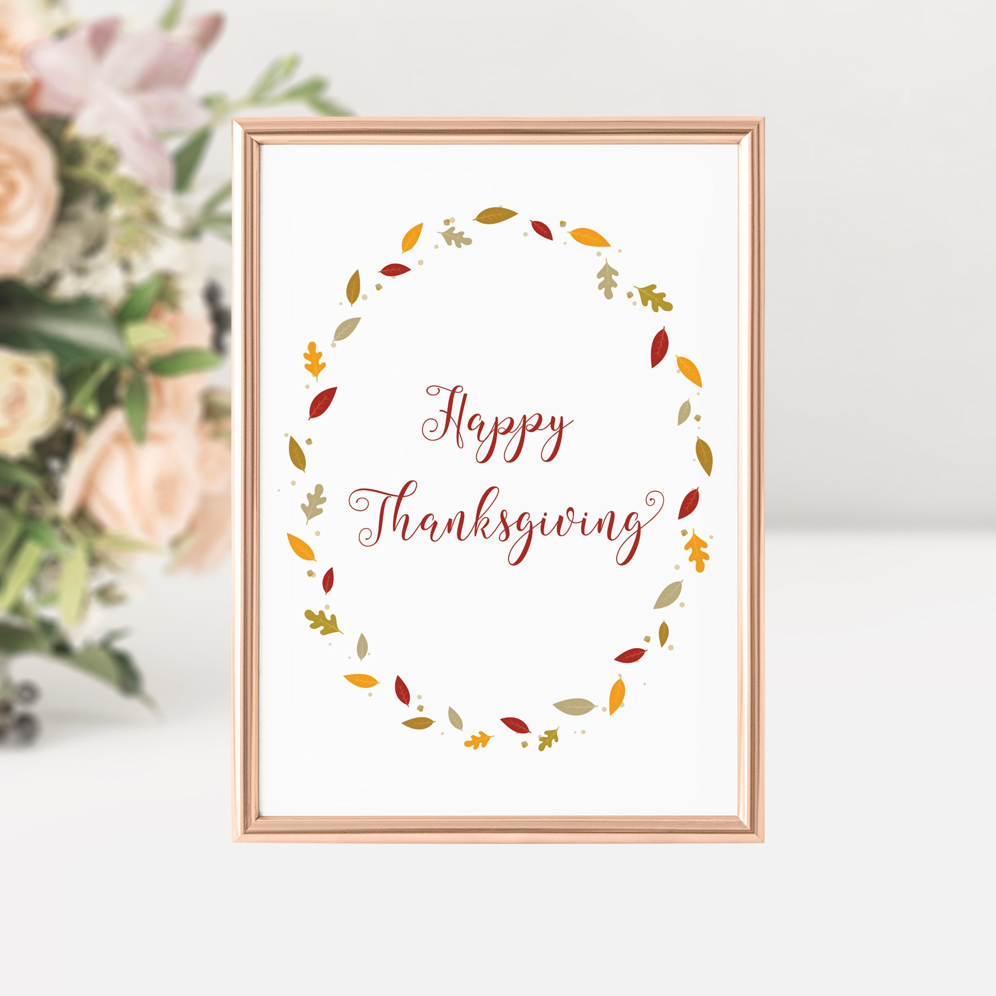 Happy Thanksgiving Sign, Thanksgiving Home Decor, Thanksgiving Signs Printable, Front Entrance Decor, INSTANT DOWNLOAD - FL100