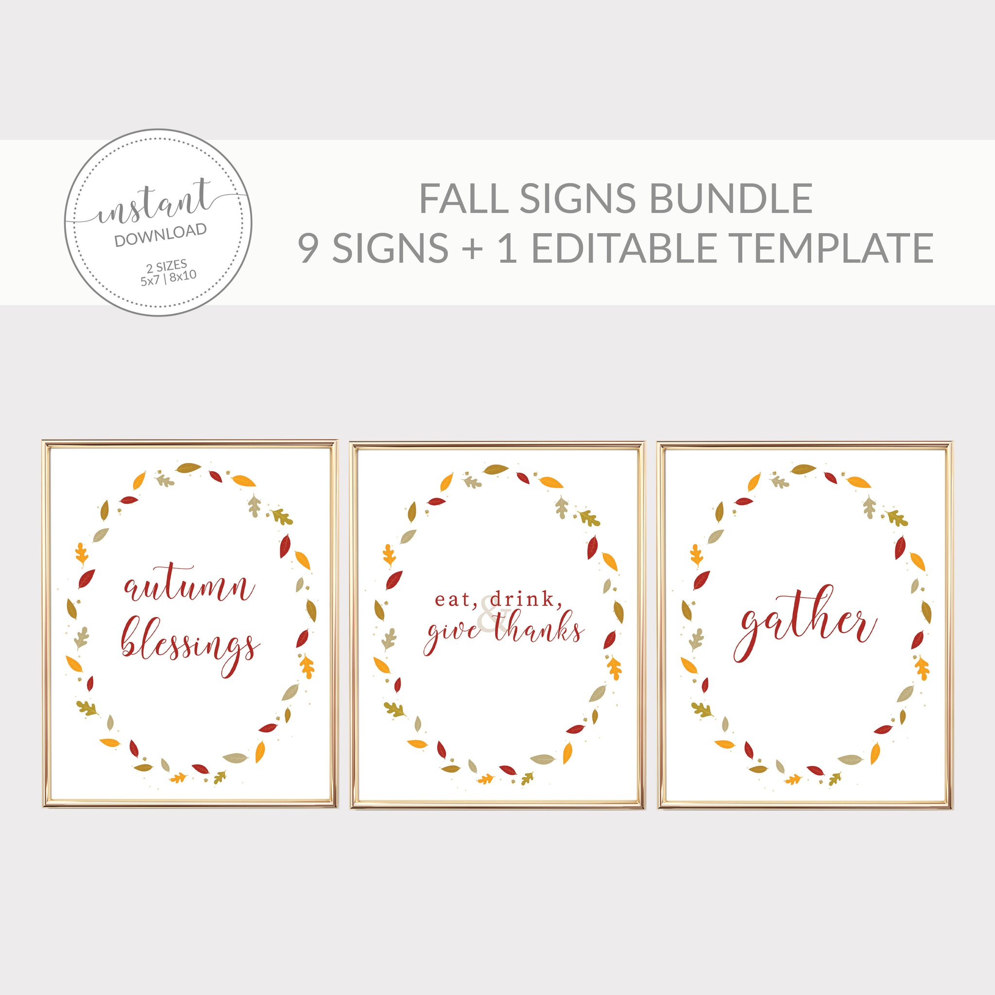 Fall Signs Bundle, Fall Decor Leaves, Thanksgiving Printable Art, Fall Office Decor, Fall Editable Sign, INSTANT DOWNLOAD - FL100