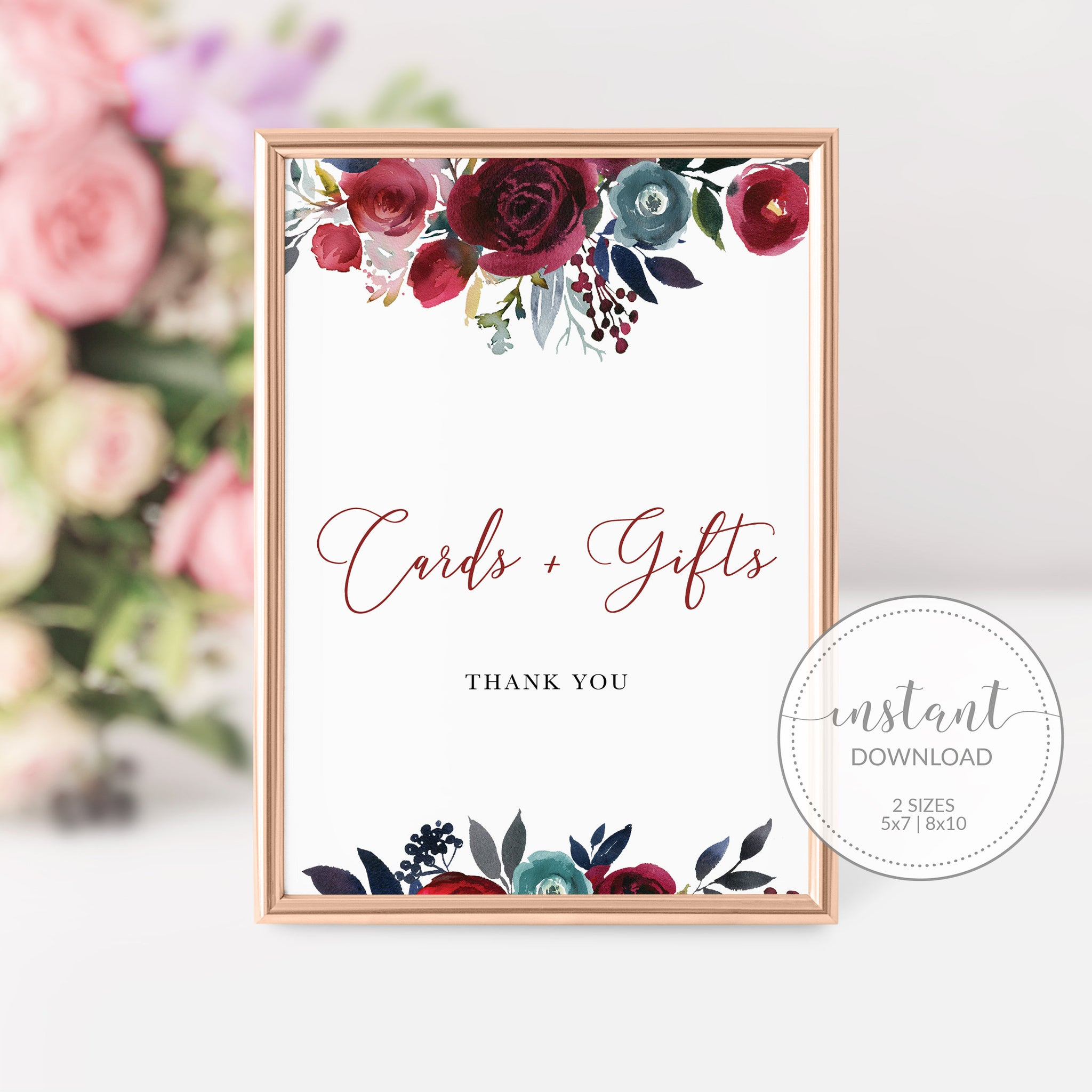 Burgundy Wedding Decor, Cards and Gifts Sign Printable, Burgundy and Navy Wedding, INSTANT DOWNLOAD - BB100