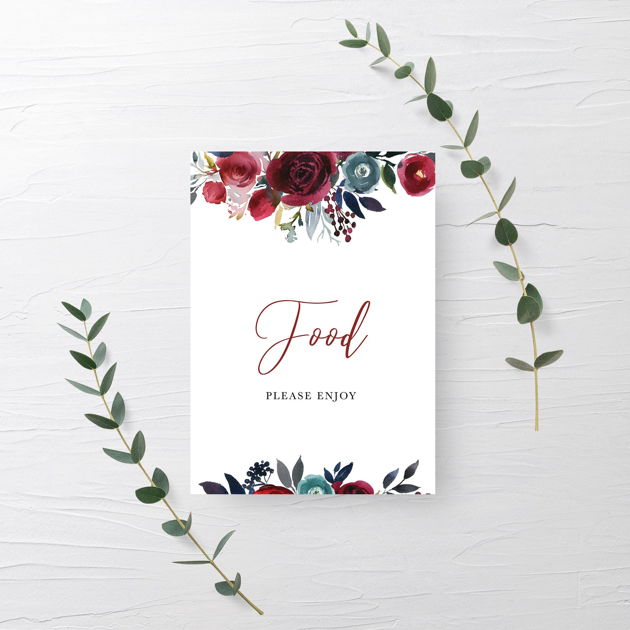Burgundy Bridal Shower Decorations, Food Sign Printable, Navy and Burgundy Wedding, INSTANT DOWNLOAD - BB100 - @PlumPolkaDot