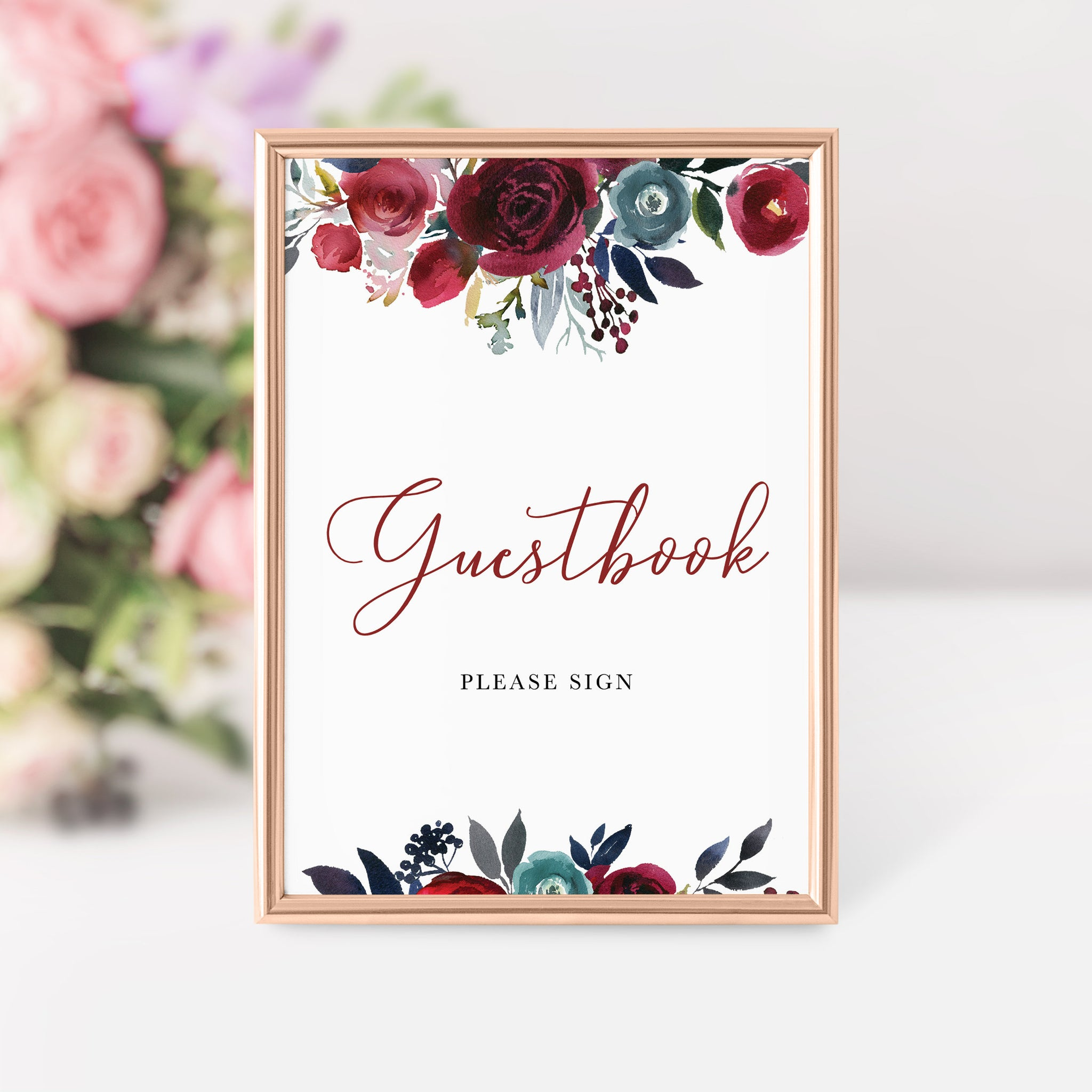 Burgundy Wedding Guestbook Sign, Guest Book Sign Printable, Burgundy and Navy Wedding, INSTANT DOWNLOAD - BB100