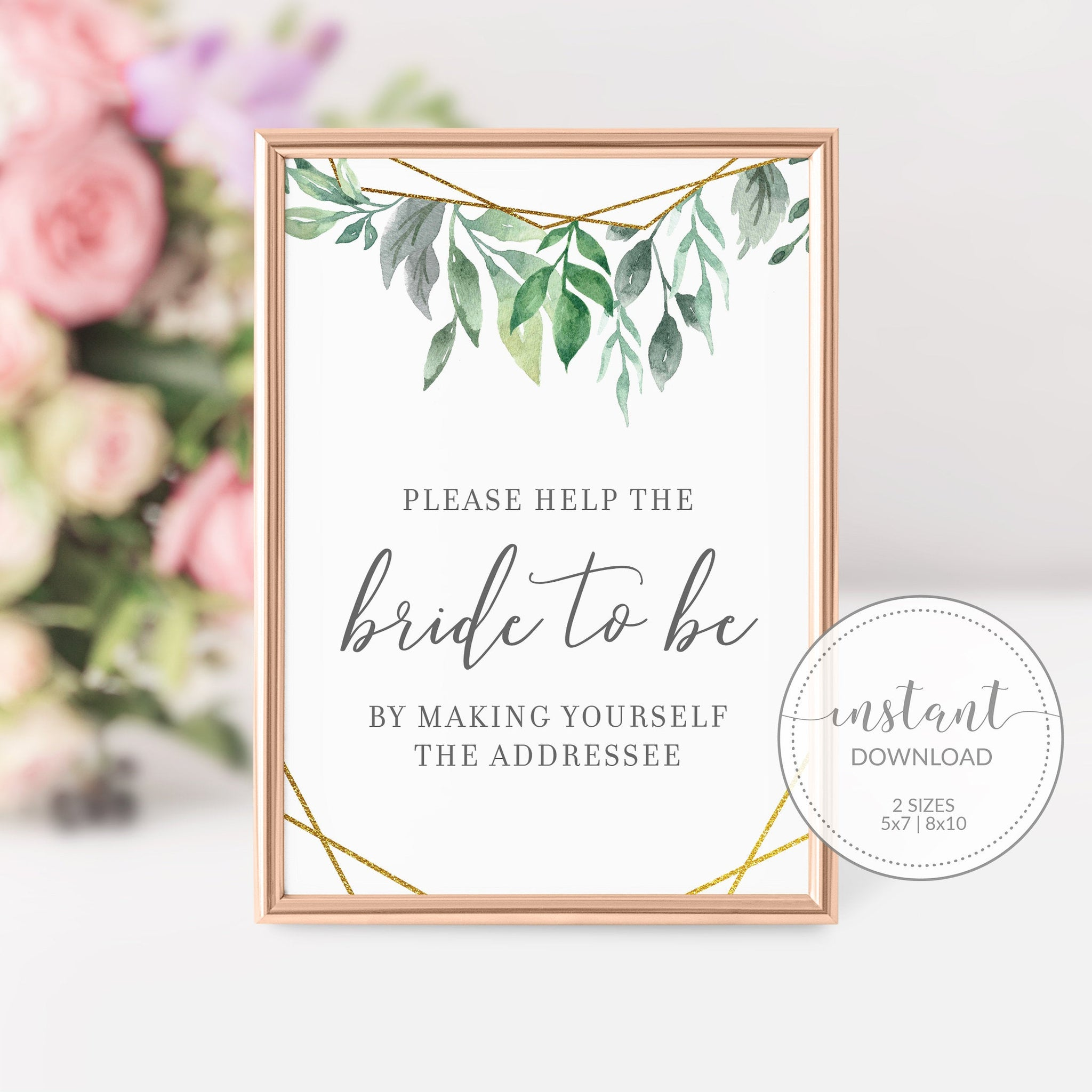 Geometric Gold Greenery Printable Bridal Shower Address an Envelope Sign INSTANT DOWNLOAD, Bridal Shower Decorations and Supplies - GFG100 - @PlumPolkaDot
