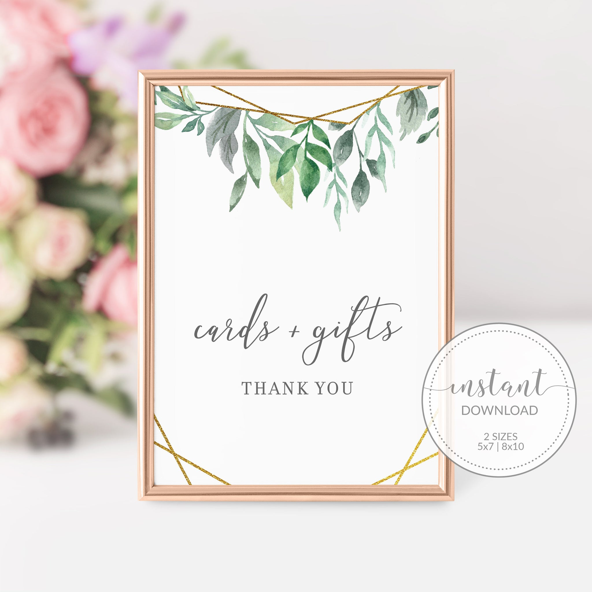 Geometric Gold Greenery Cards and Gifts Printable Sign INSTANT DOWNLOAD, Bridal Shower, Baby Shower, Wedding Decorations Supplies - GFG100 - @PlumPolkaDot