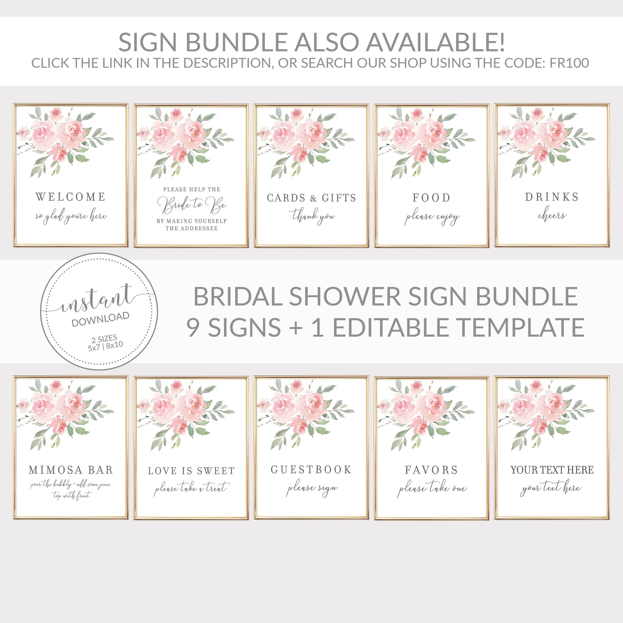 Drinks Sign Printable, Floral Bridal Shower Decorations, Pink Baby Shower Supplies, DIGITAL DOWNLOAD - FR100