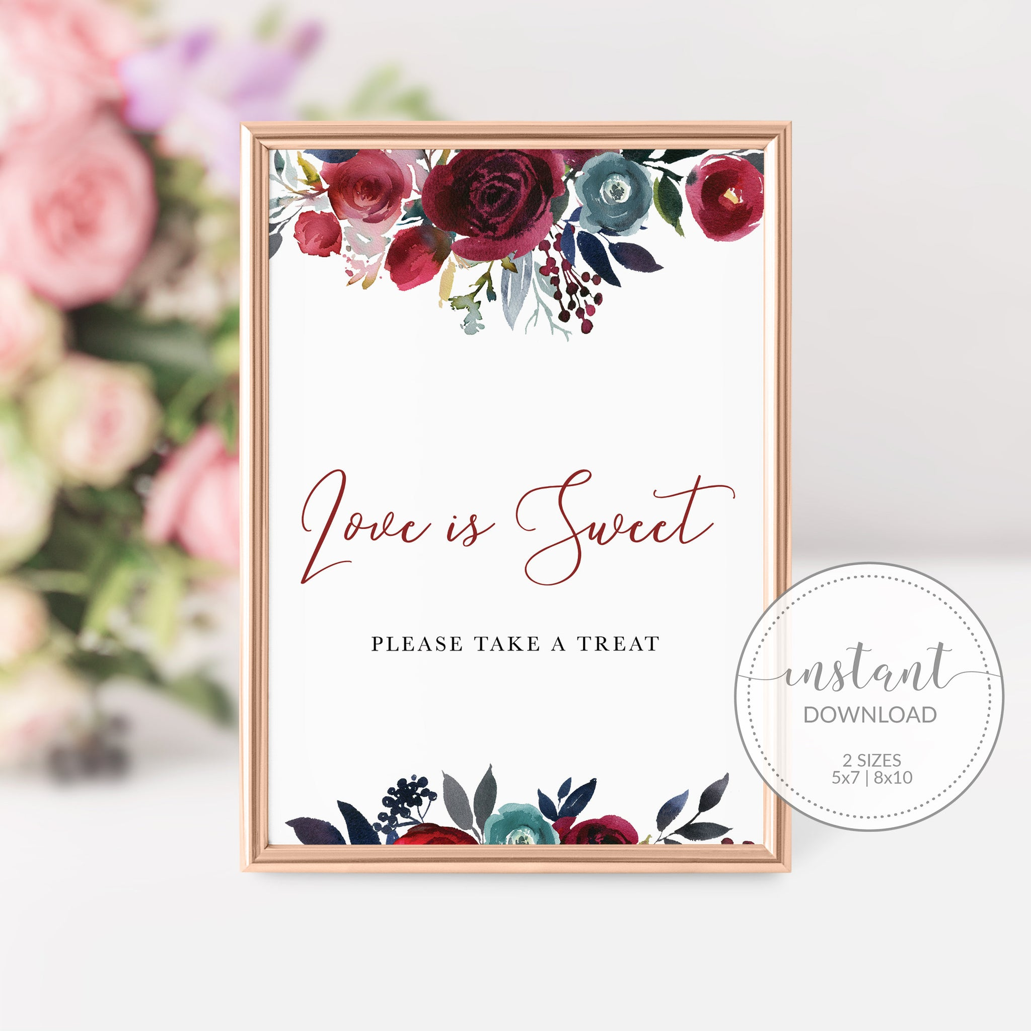 Burgundy and Navy Wedding Sign, Love Is Sweet Take a Treat Sign, Burgundy Bridal Shower Decorations, INSTANT DOWNLOAD - BB100