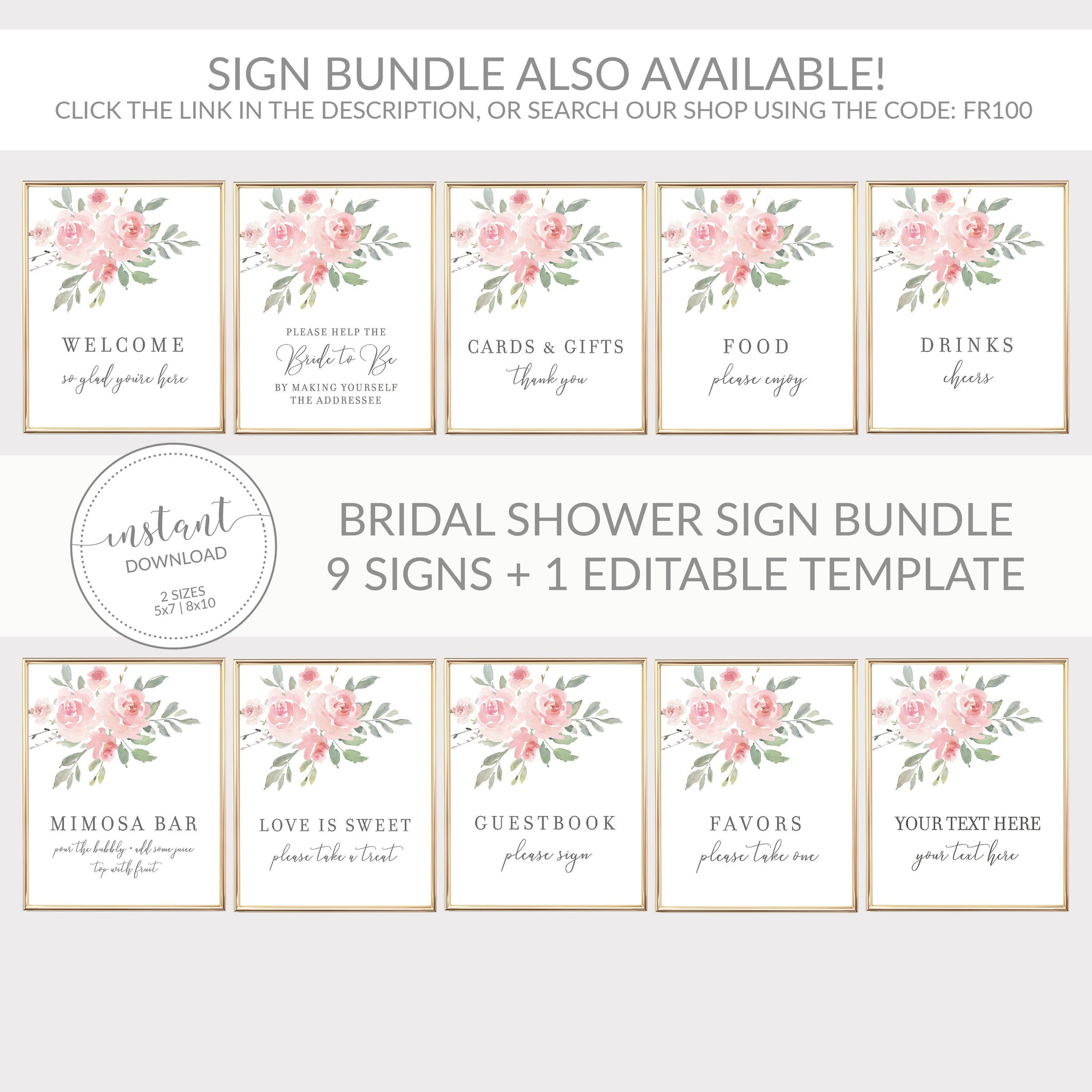 Food Sign Printable, Floral Bridal Shower Decorations, Pink Baby Shower Supplies, DIGITAL DOWNLOAD - FR100 - @PlumPolkaDot