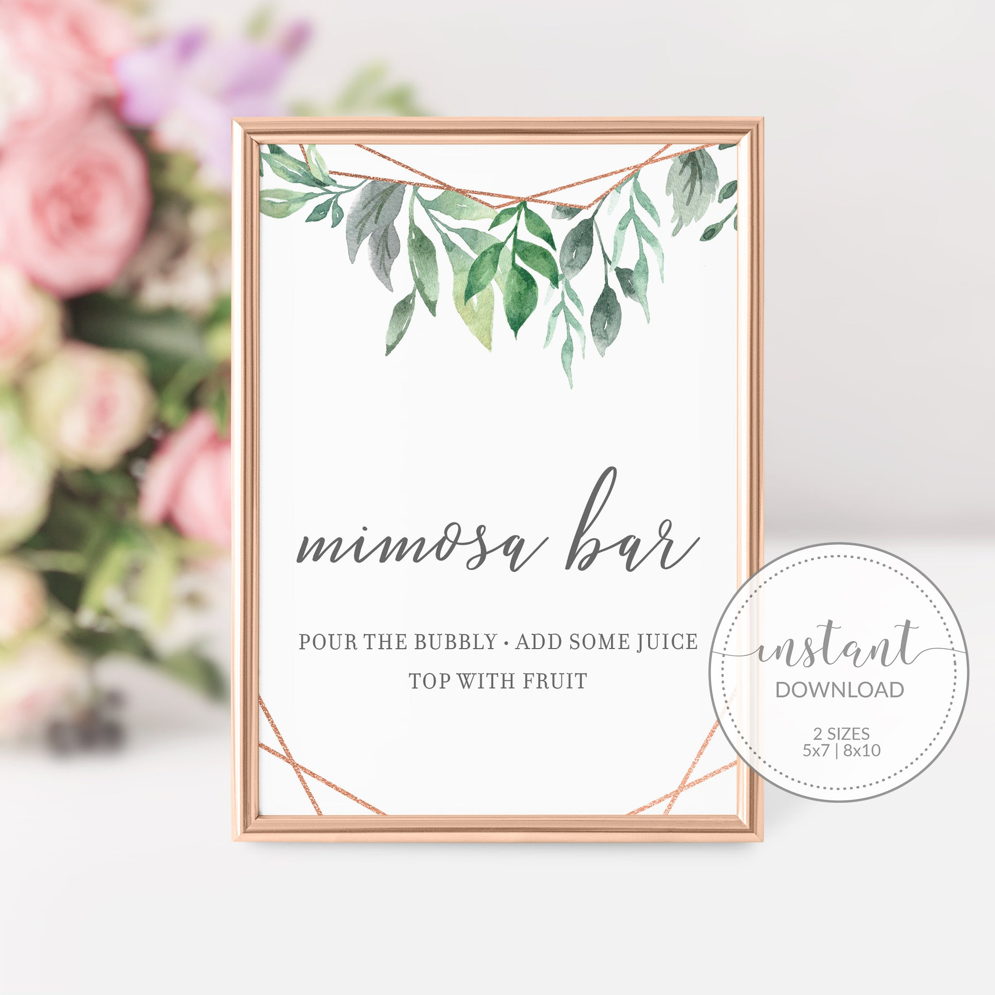 Geometric Rose Gold Greenery Mimosa Bar Printable Sign INSTANT DOWNLOAD, Birthday, Bridal Shower, Baby Shower, Wedding Decorations - GFRG100 - @PlumPolkaDot
