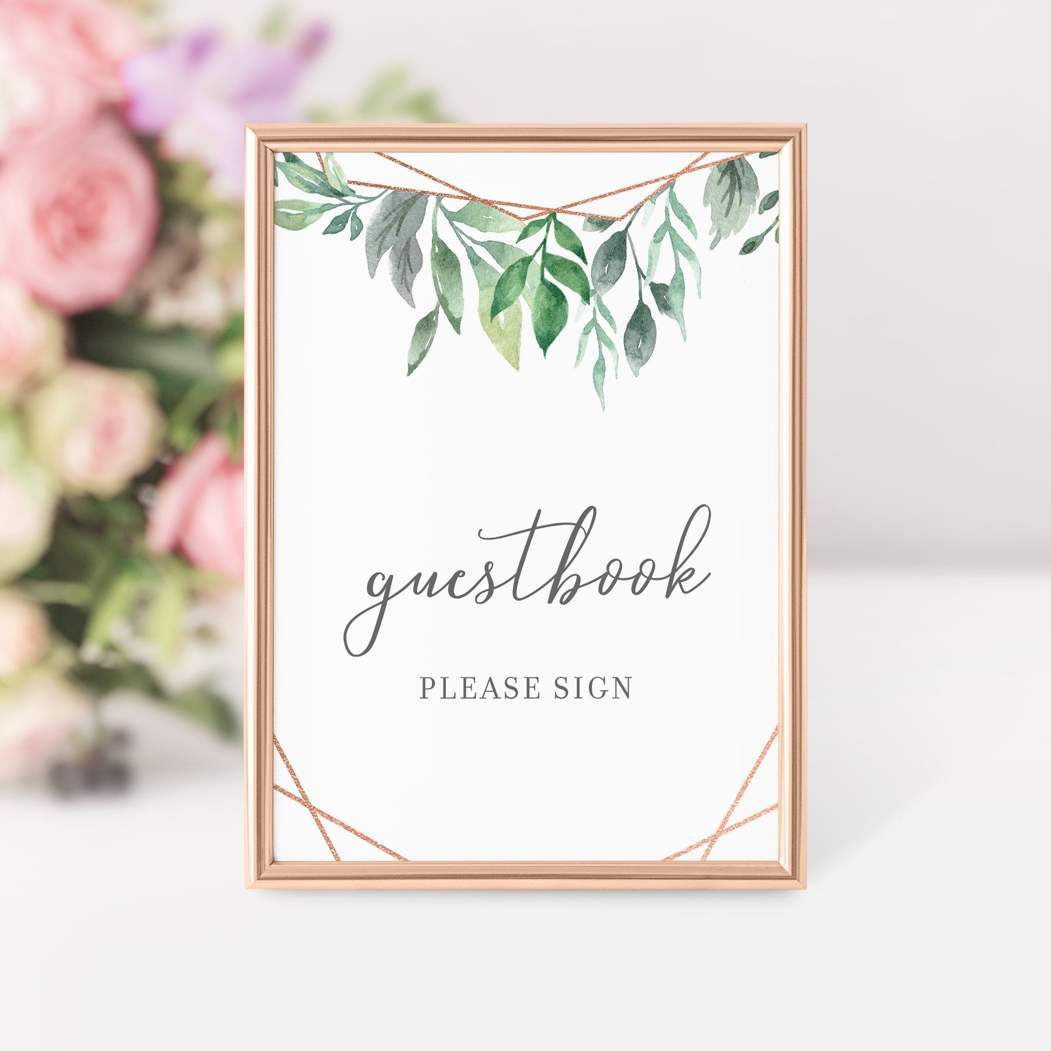 Geometric Rose Gold Greenery Printable Guestbook Sign INSTANT DOWNLOAD, Bridal Shower, Baby Shower, Wedding Decorations Supplies - GFRG100 - @PlumPolkaDot