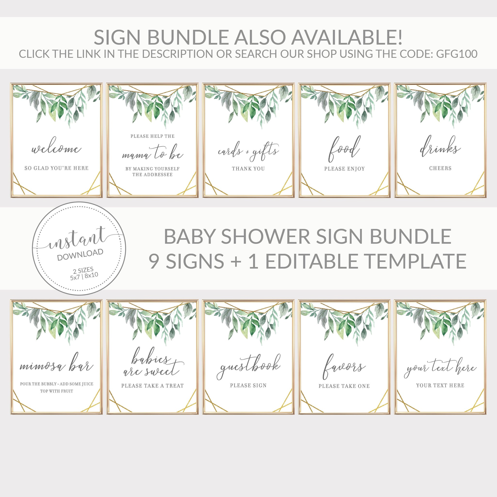 Geometric Gold Greenery Printable Treat Sign, INSTANT DOWNLOAD, Baby Shower Sip and See Babies Are Sweet Dessert Table Decorations - GFG100